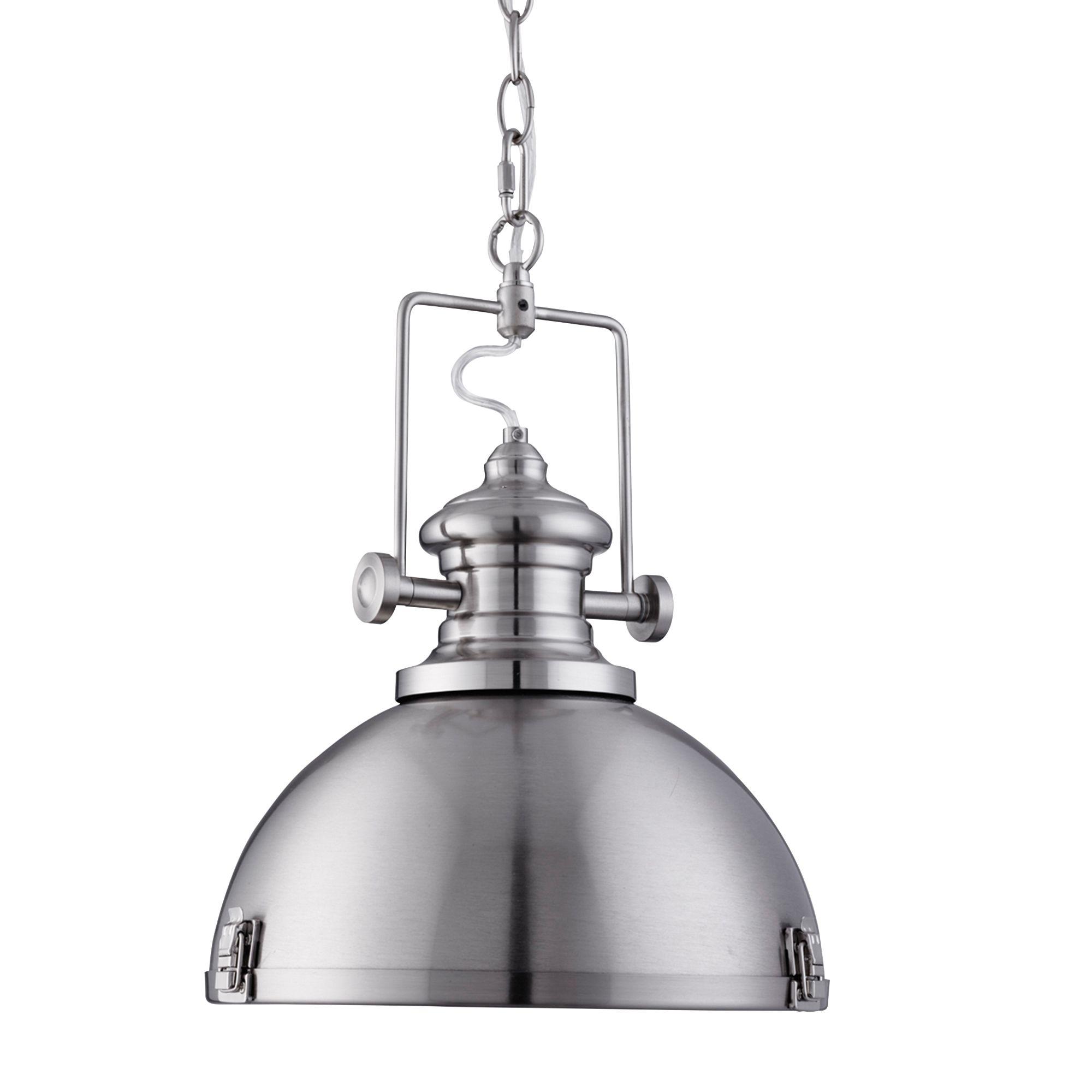Louisiana Metal Industrial Satin Silver Pendant Light With Acrylic Diffuser