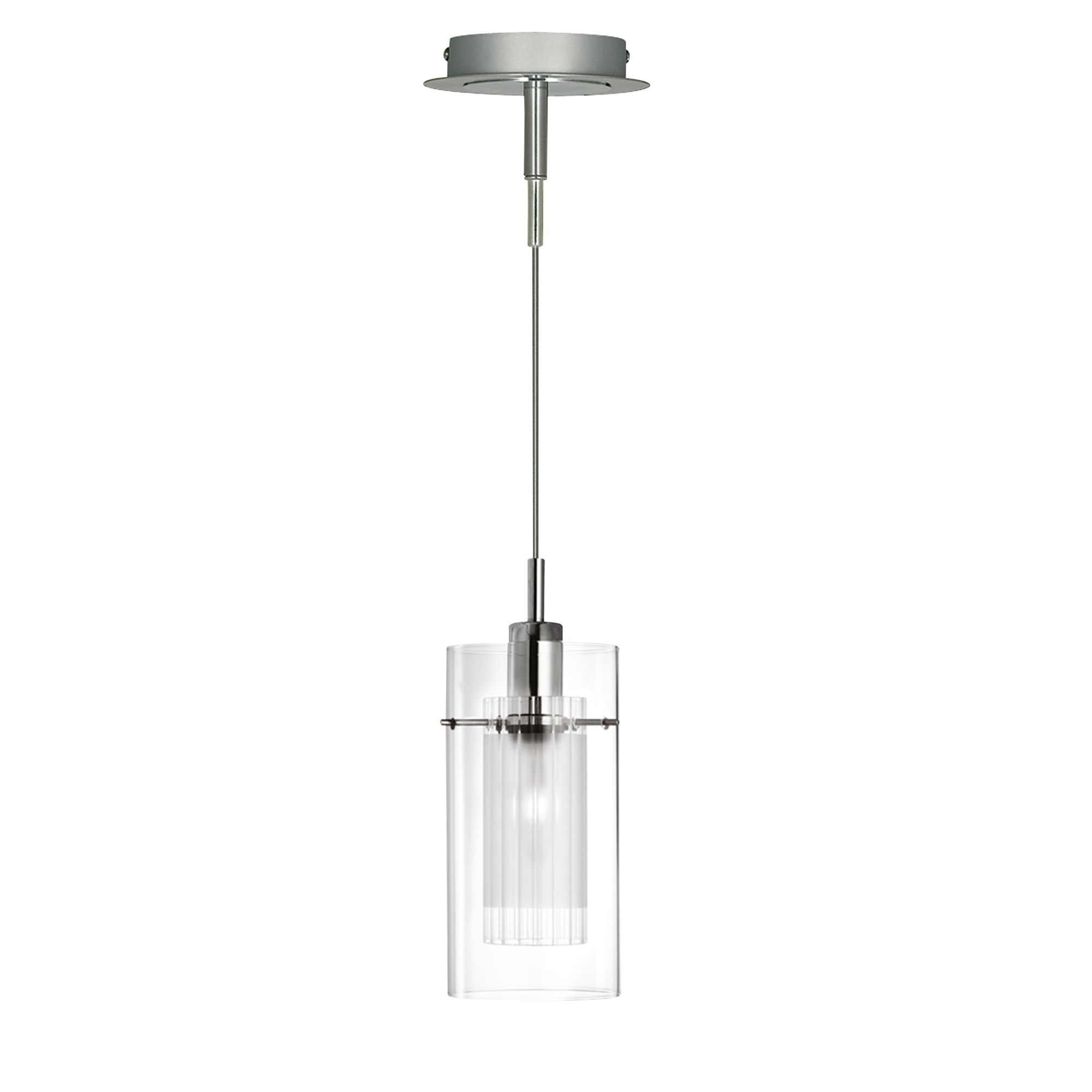 Duo 1 Chrome Pendant Light With Double Glass Cylinder Shade