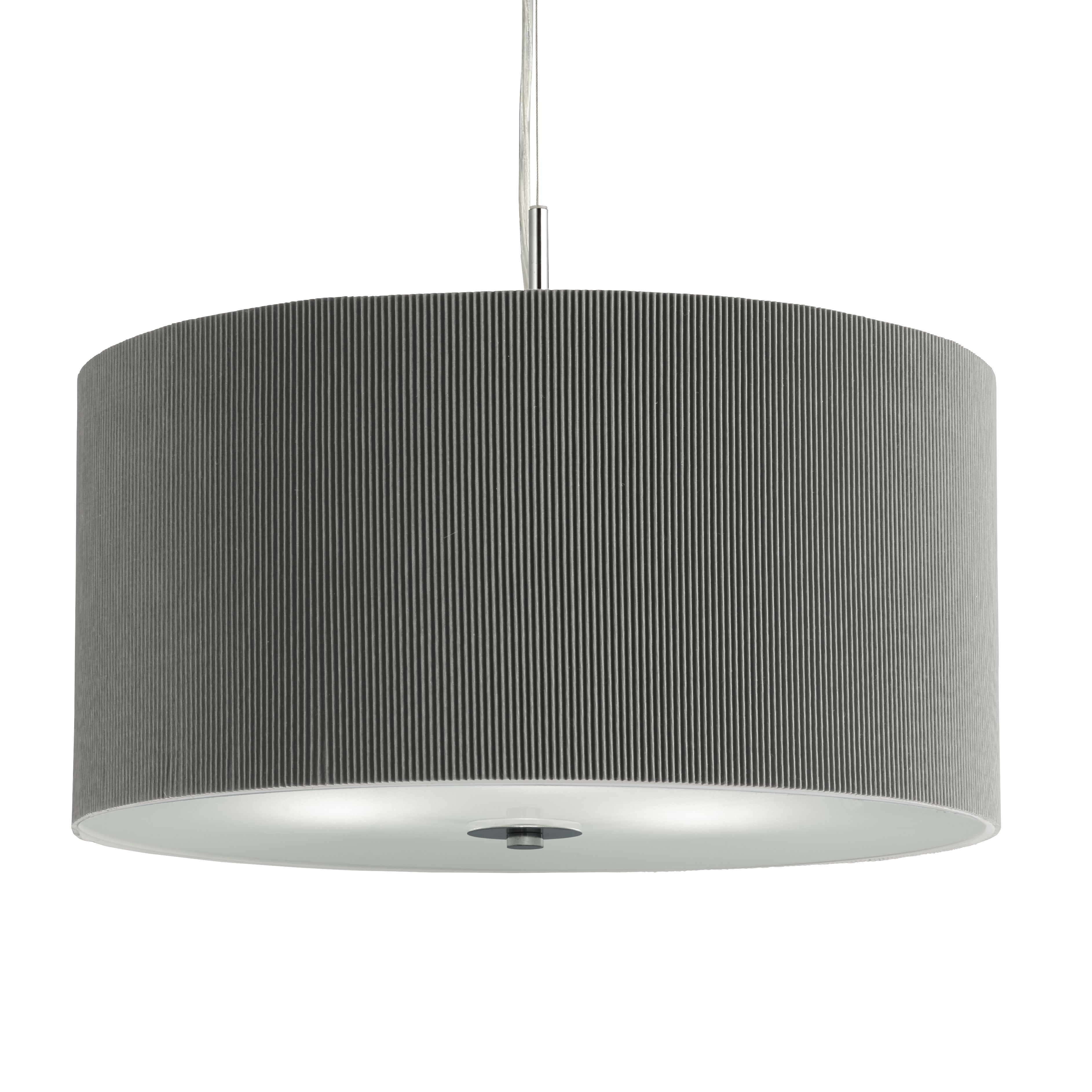 Silver Drum Pleat 3 Light Pendant With Frosted Glass Diffuser