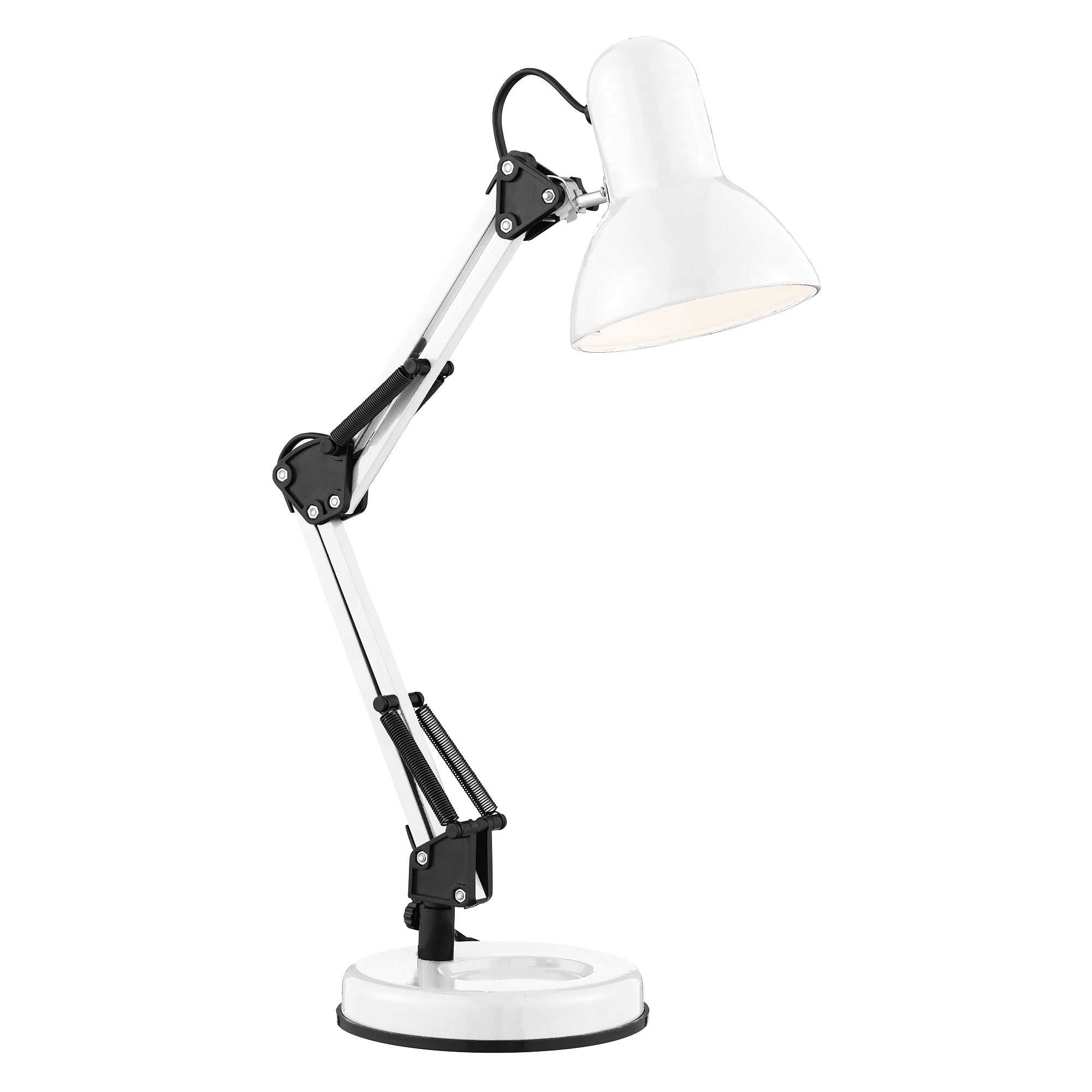 Shiny White Hobby Table Lamp Adjustable