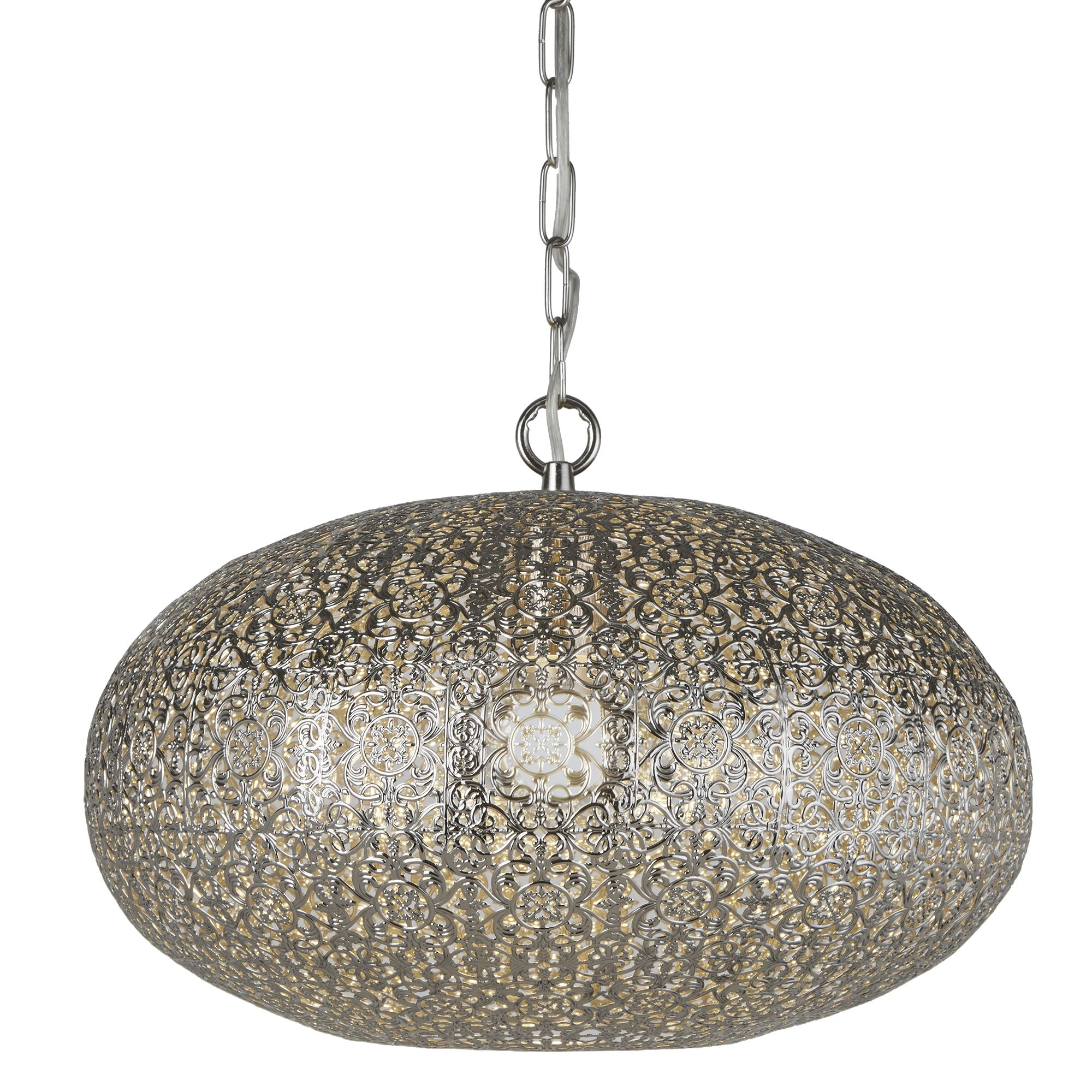 Searchlight Moroccan 1 Light Shiny Nickel Pendant Ceiling Chandelier Fitting New