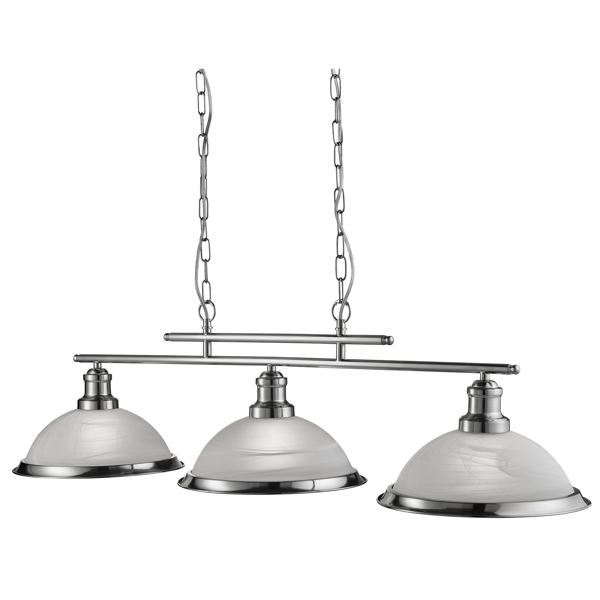Bistro Satin Silver 3 Light Ceiling Bar Pendant With Marble Glass Shades