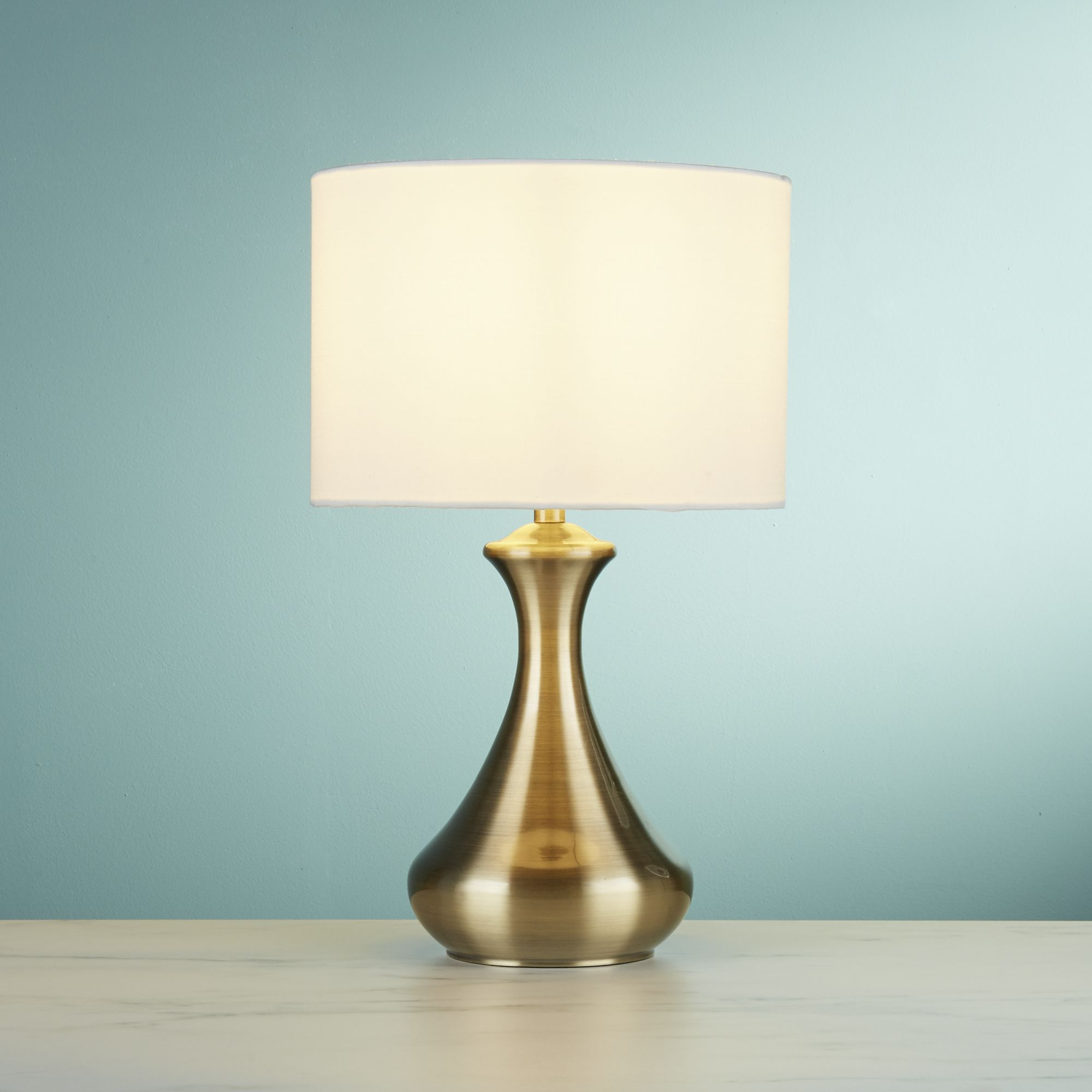 Picture of: Antique Brass Touch Table Lamp With Cream Fabric Shade