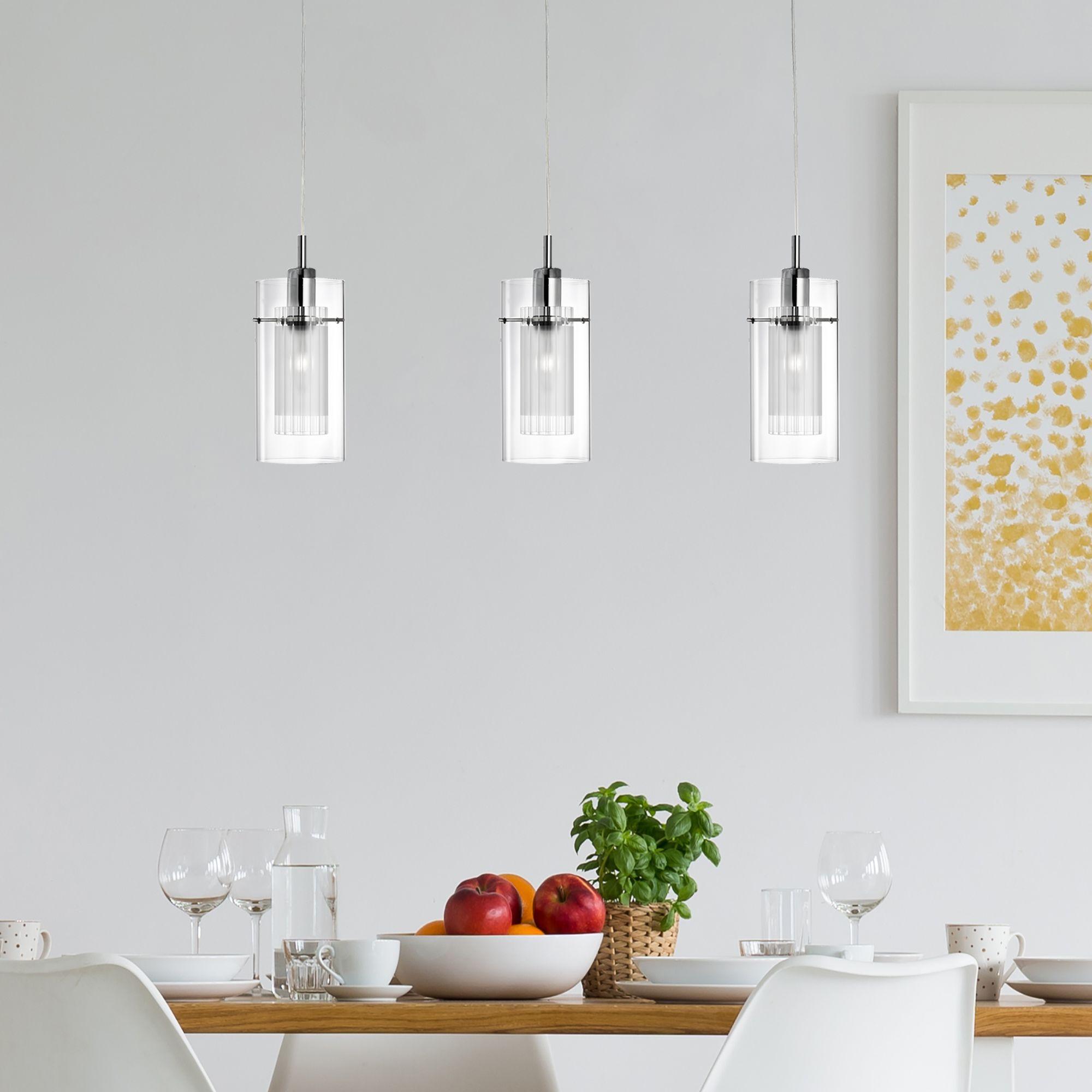 Duo 1 Chrome 3 Light Bar Pendant With Double Glass Cylinder Shades