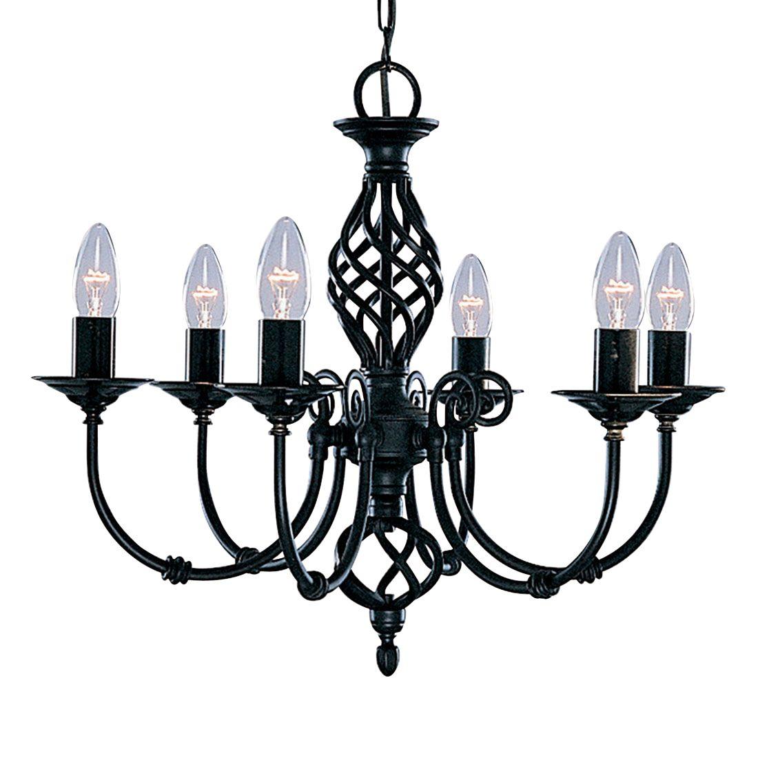 Zanzibar Metal Black 6 Light Fitting With Ornate Twisted Column