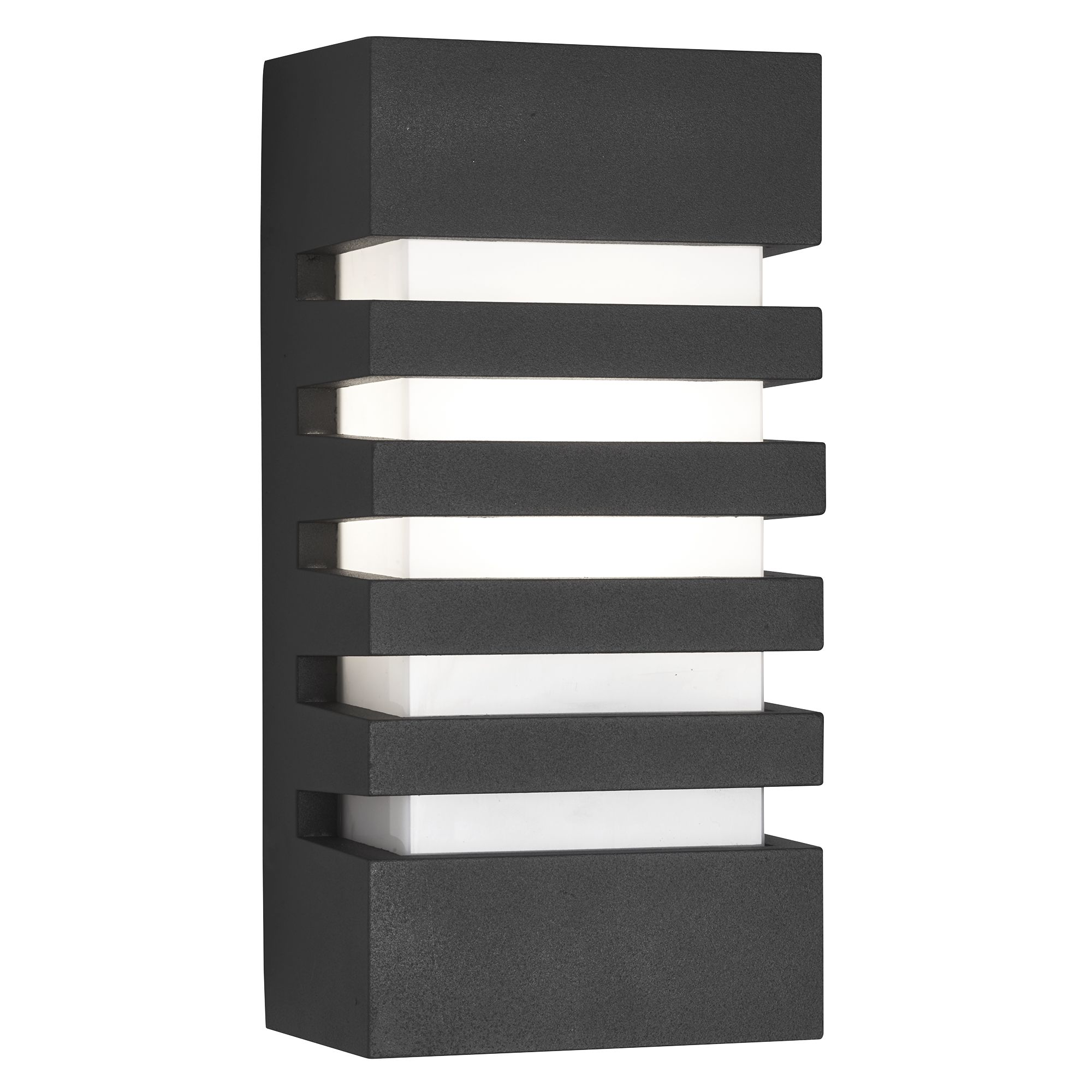 Aluminium Ip44 Grilled Dark Grey Outdoor Wall Light, Polycarbonate Opal Shade