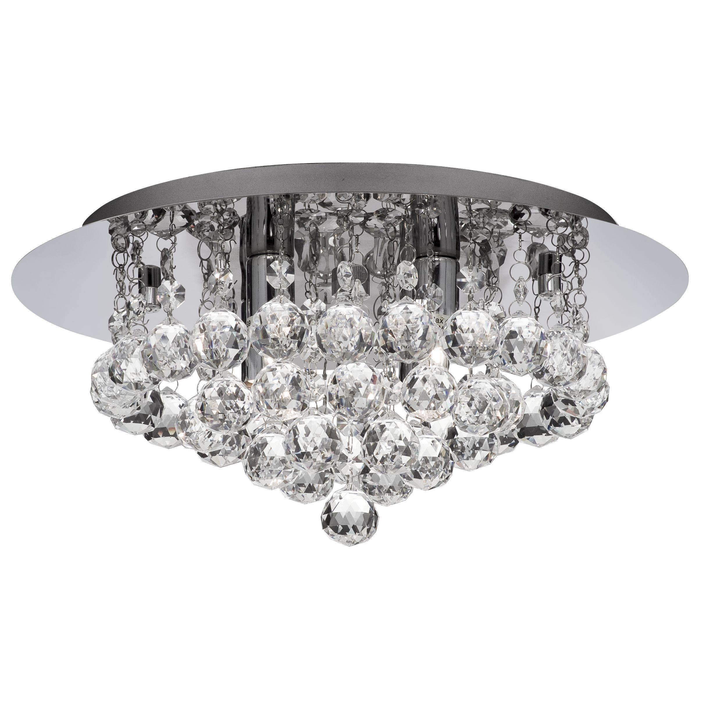 Hanna Chrome 4 Light Semi-flush With Clear Crystal Balls Fitting