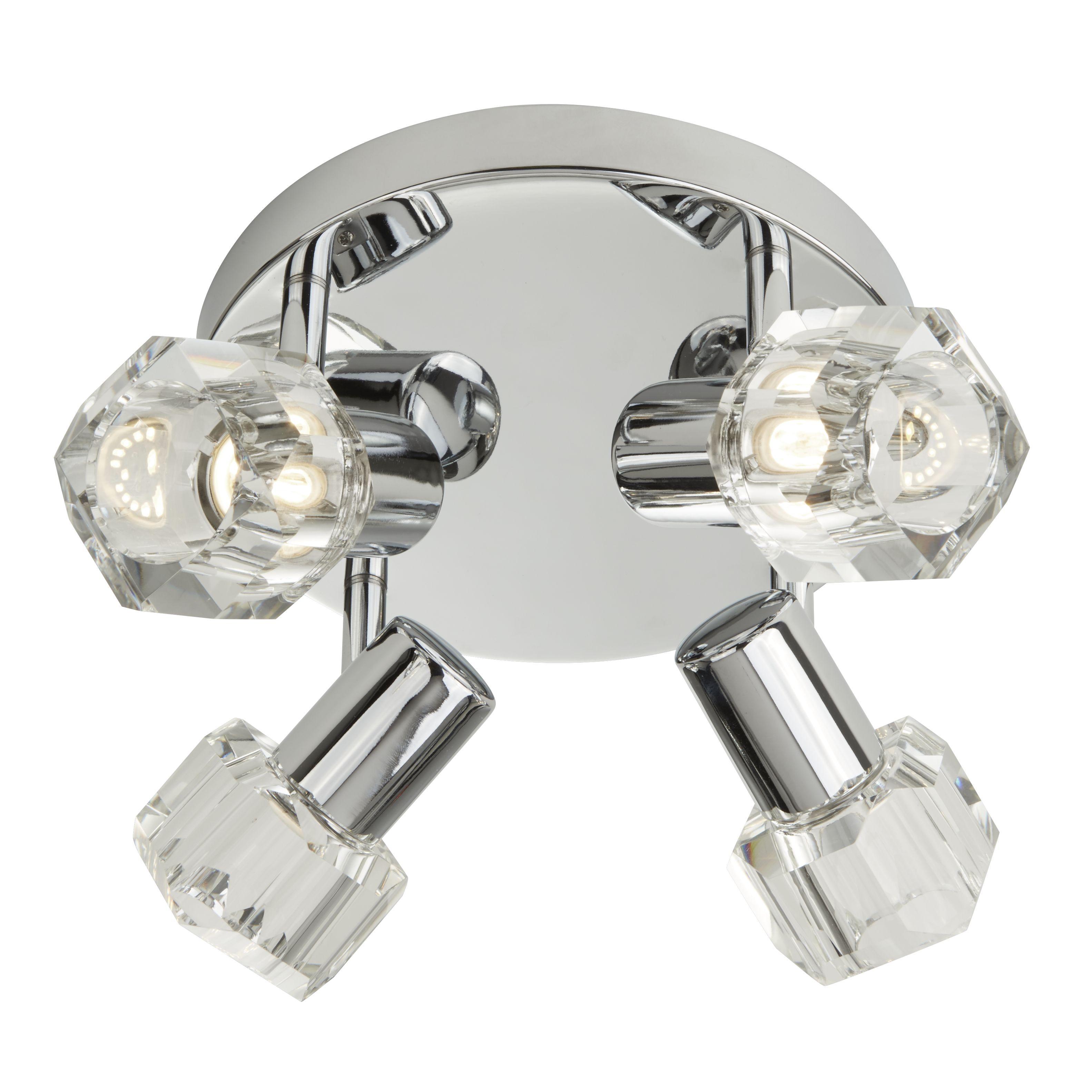 Triton Chrome 4 Light Spotlight With Clear Glass Shades