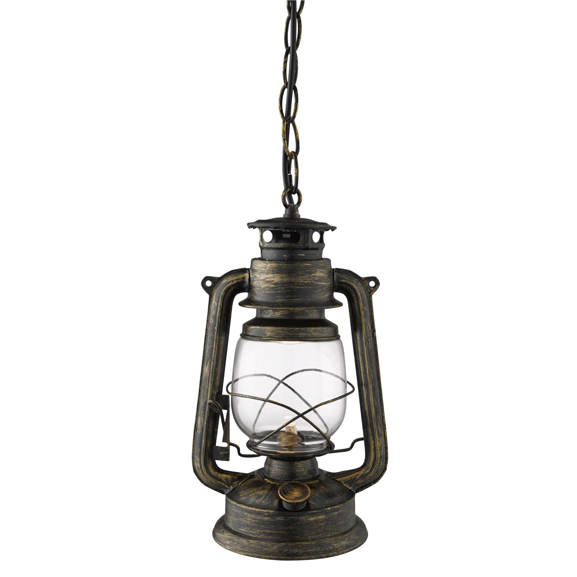 new product 11351 a8f28 Hurricane Lantern Pendant Light In Black Gold With White Glass