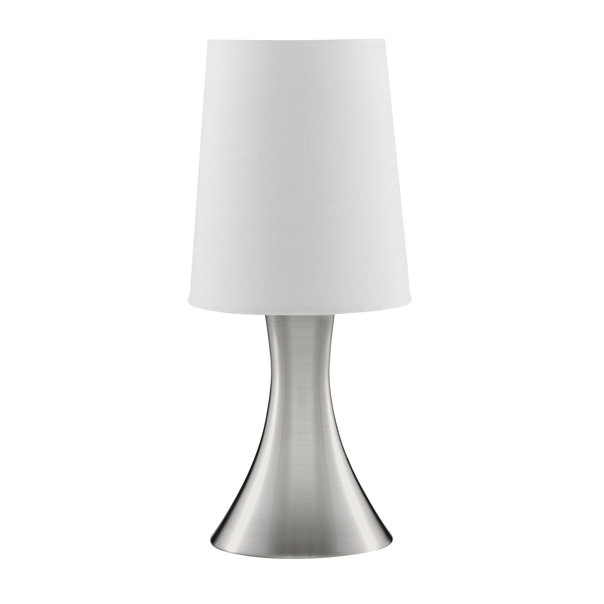 Satin Silver Touch Table Lamp With White Fabric Shade