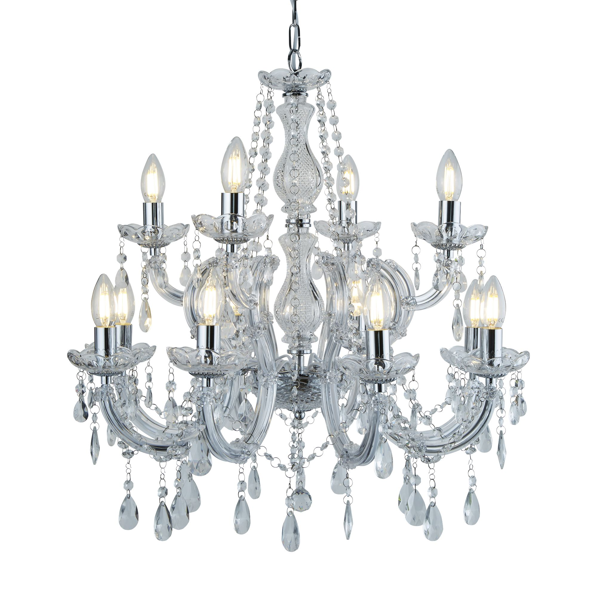 Marie Therese 3 Light Chandelier Chrome, Pendants, Crystal