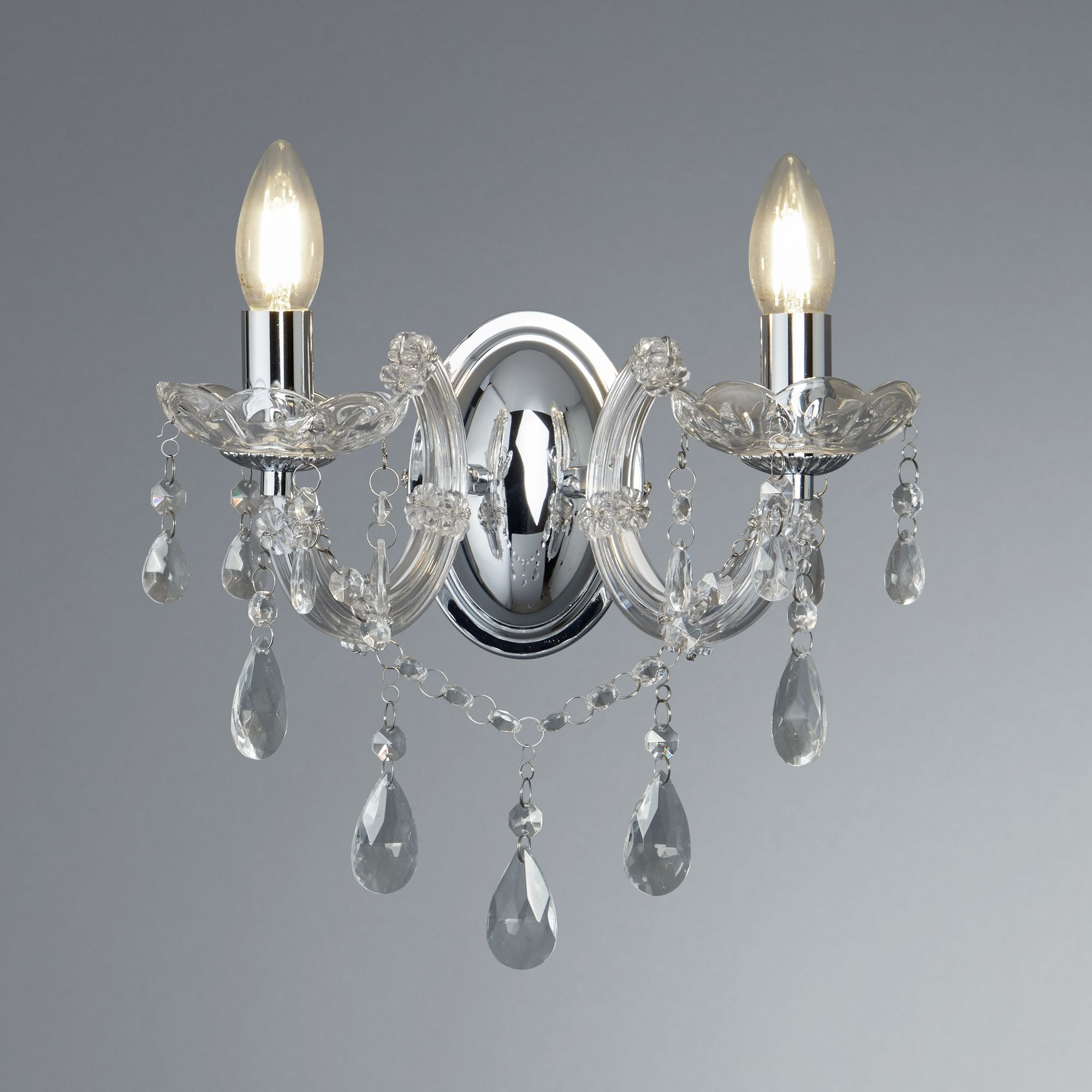 Details about Marie Therese 2 Lights Black & Chrome Wall Bracket Chandelier Light