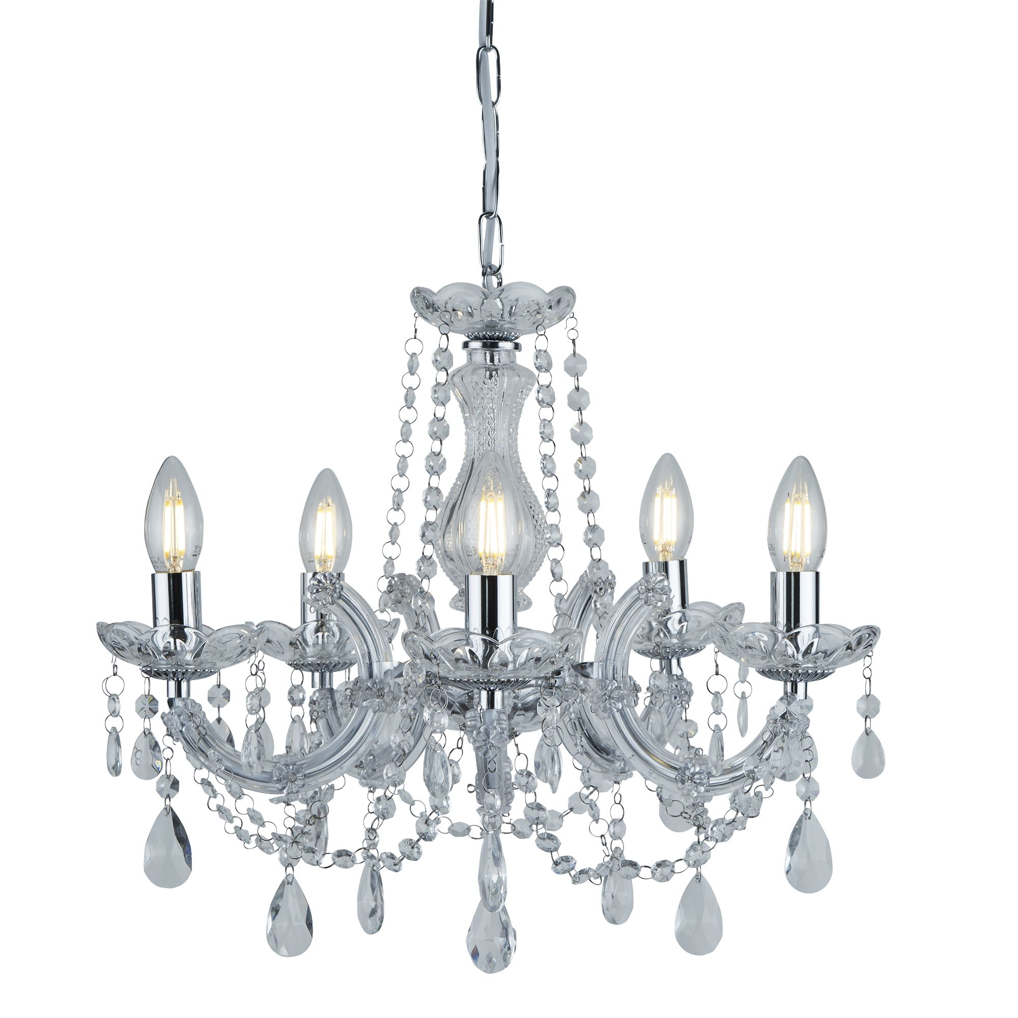 MARIE THERESE chandelier 5 light in chrome & crystal