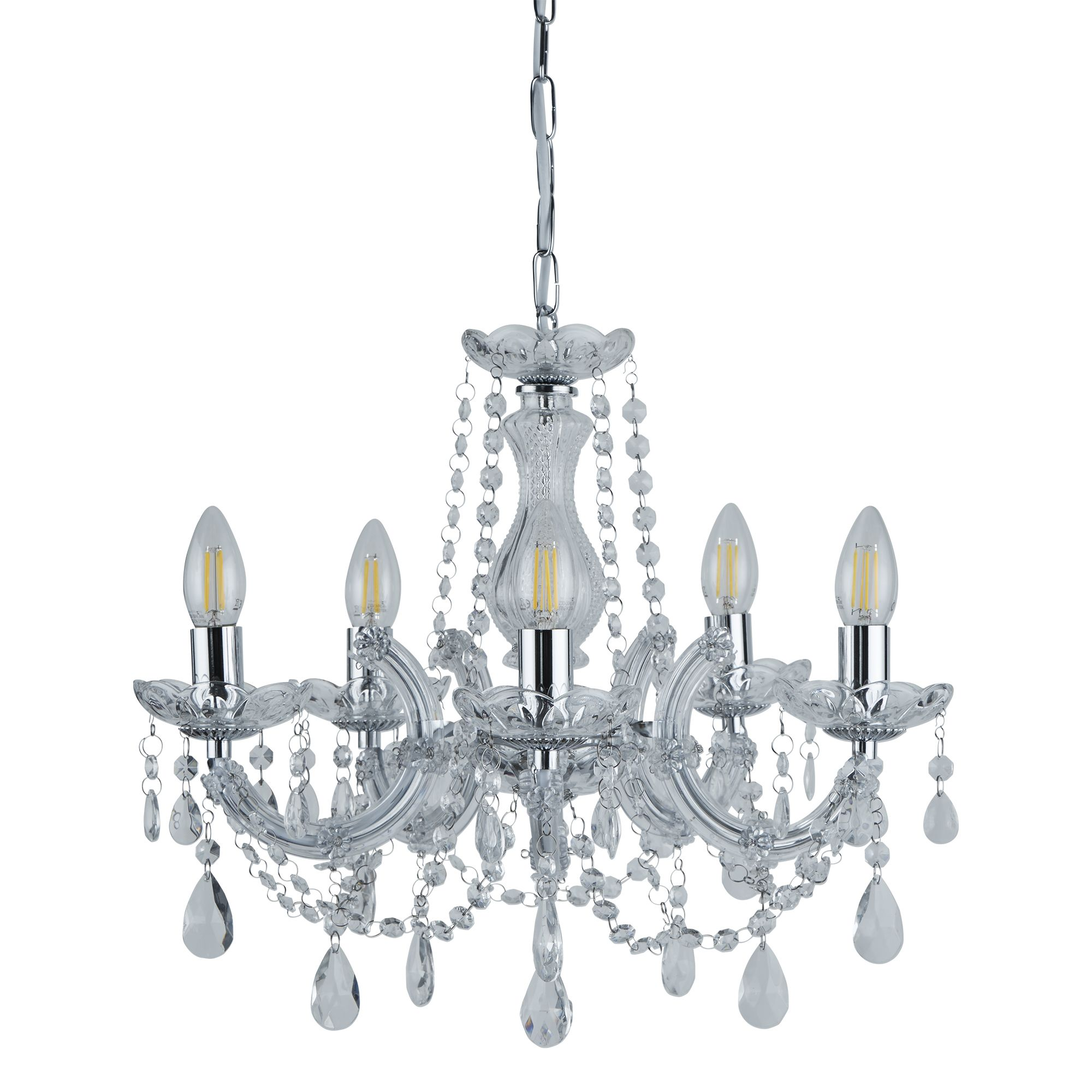 399 5 Marie Therese Chrome 5 Light Glass Chandelier with Crystal Droplets