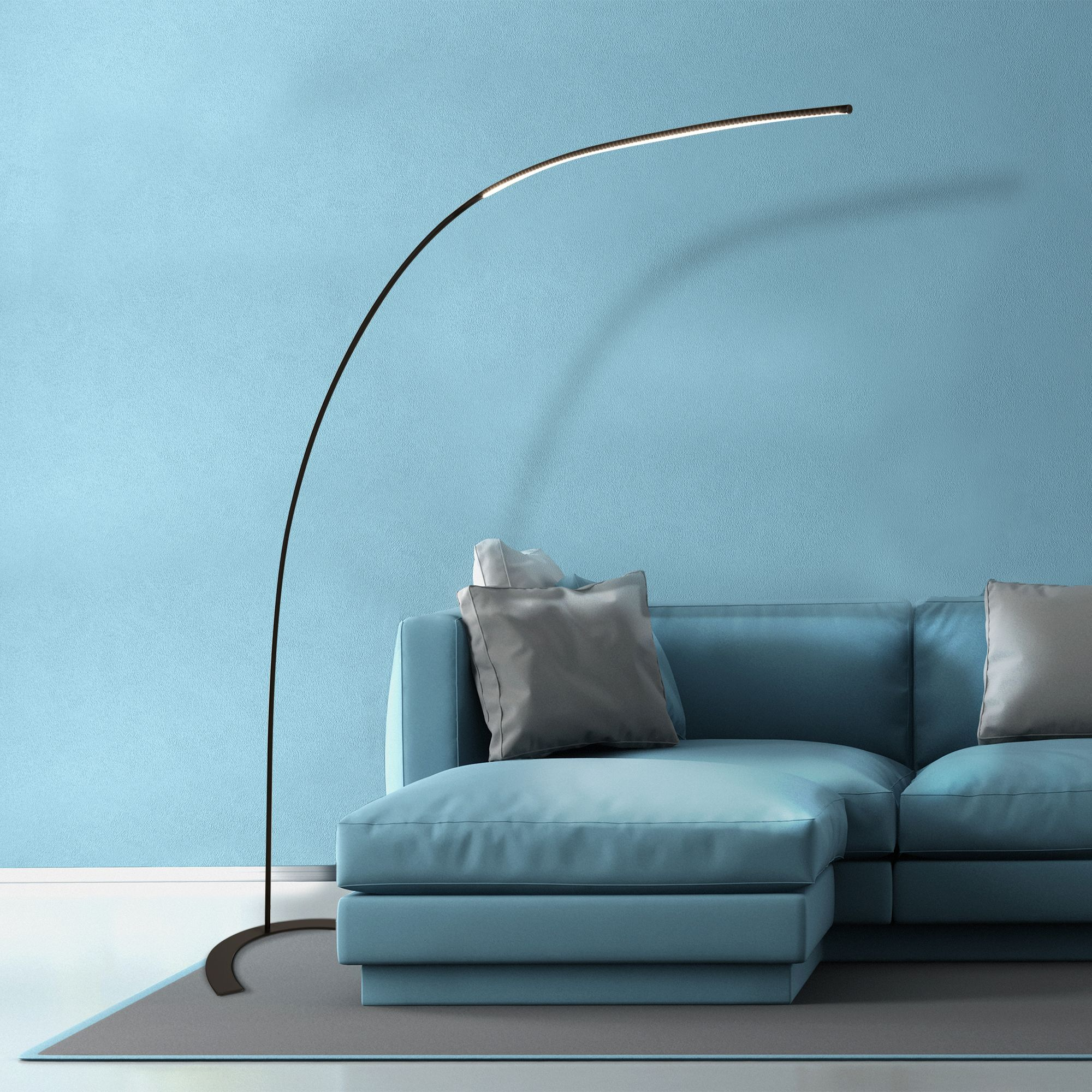 Swell Large Led Arch Floor Lamp Black Finish With Dimmer Download Free Architecture Designs Jebrpmadebymaigaardcom