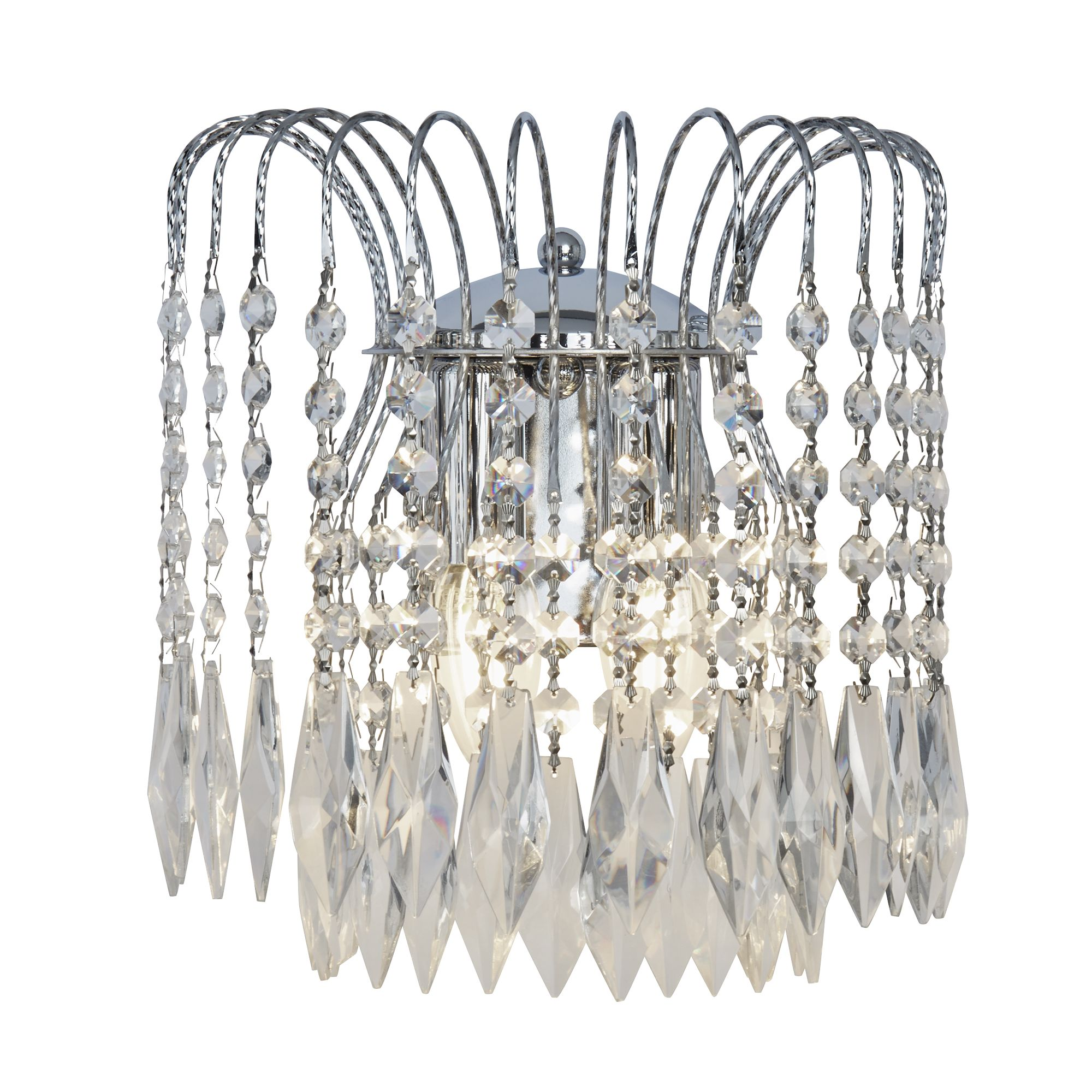 Waterfall Chrome 2 Light Wall Bracket With Crystal Button Drops Decoration