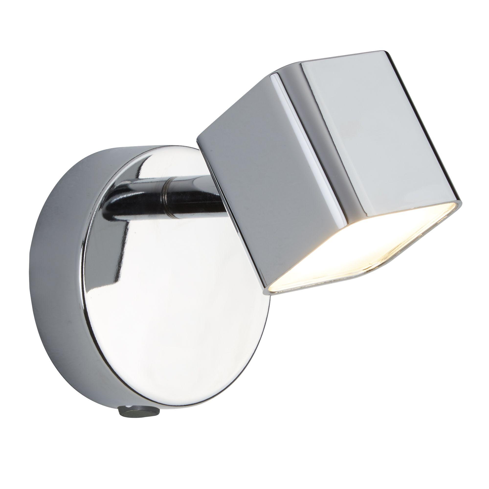 1 Light Led Square Head Spot Wall Bracket, Chrome