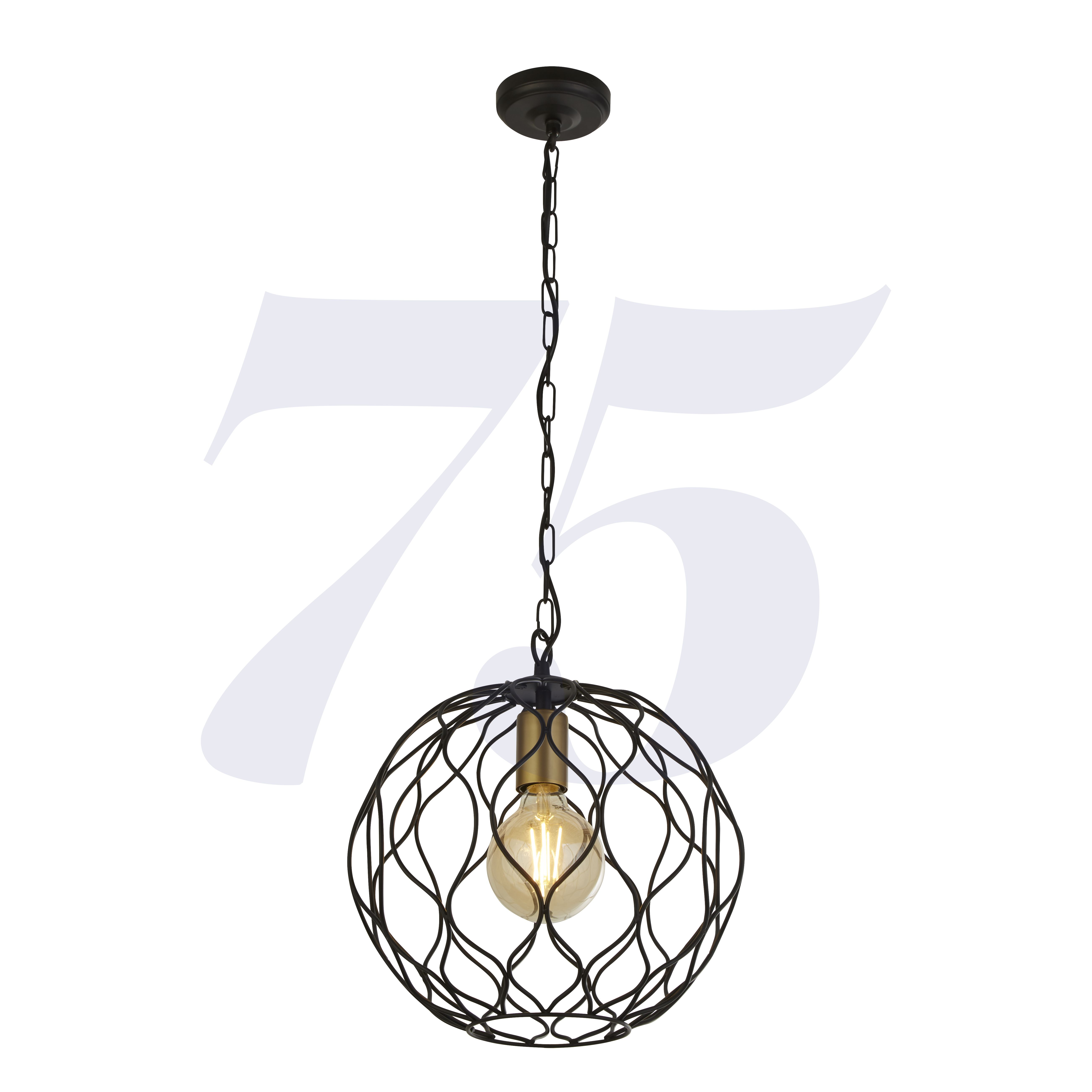 Finesse 1lt Round Pendant With Wavey Bar Detail - Black With Gold Pendant