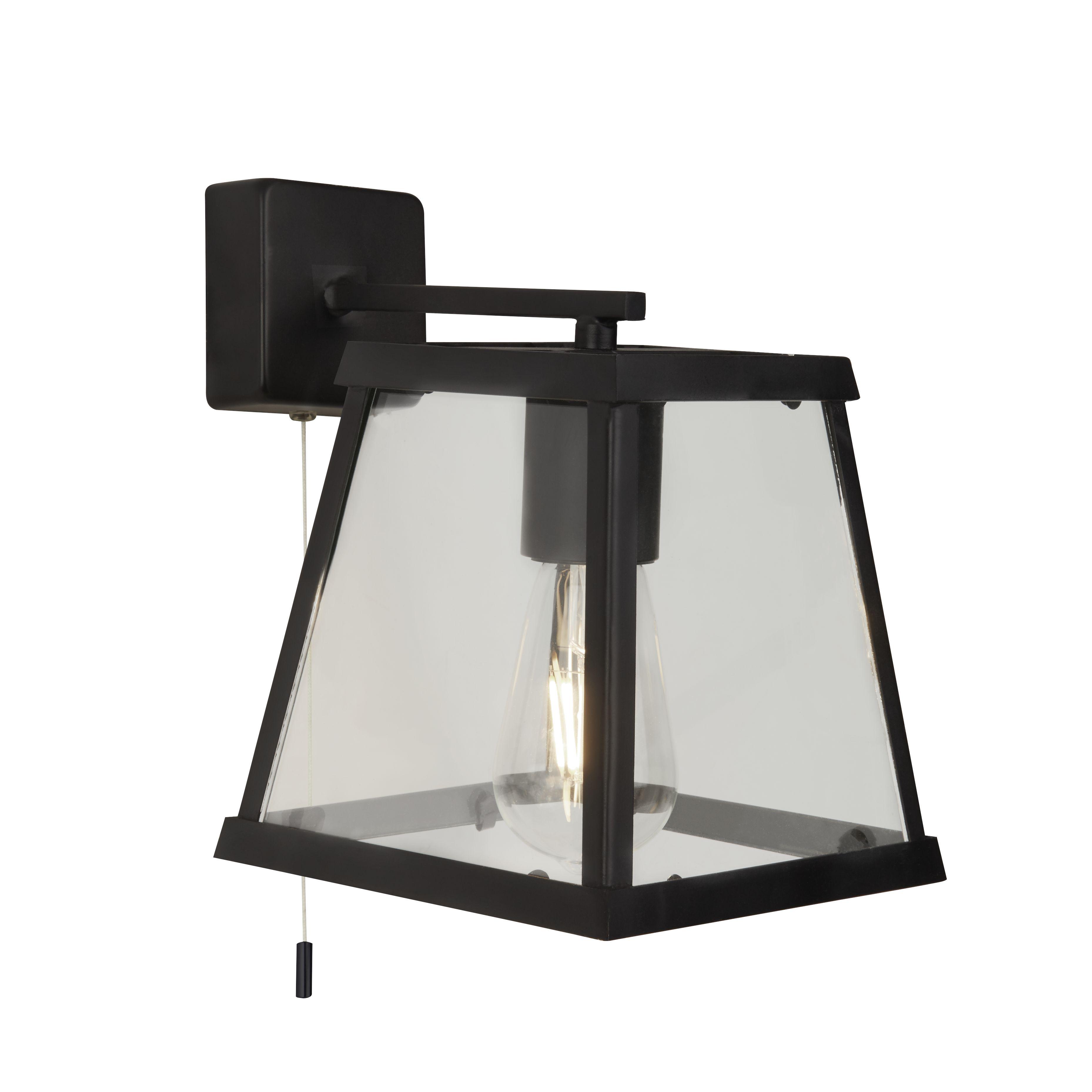 Searchlight 4614-5BK Voyager Matt Black 5 Light Lantern Bar Light Glass Shade