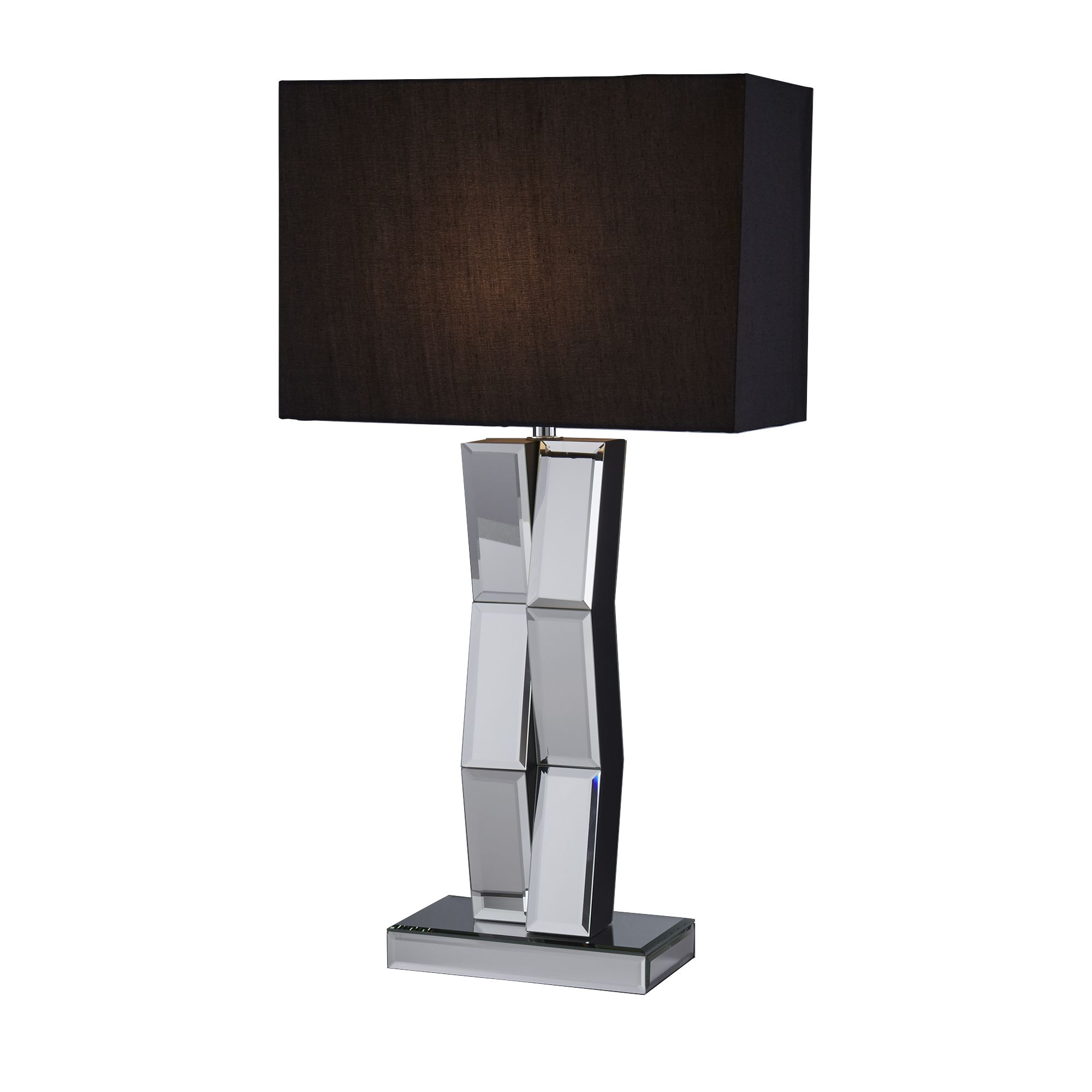 Mirrored Table Lamp With Black Oblong Faux Silk Shade