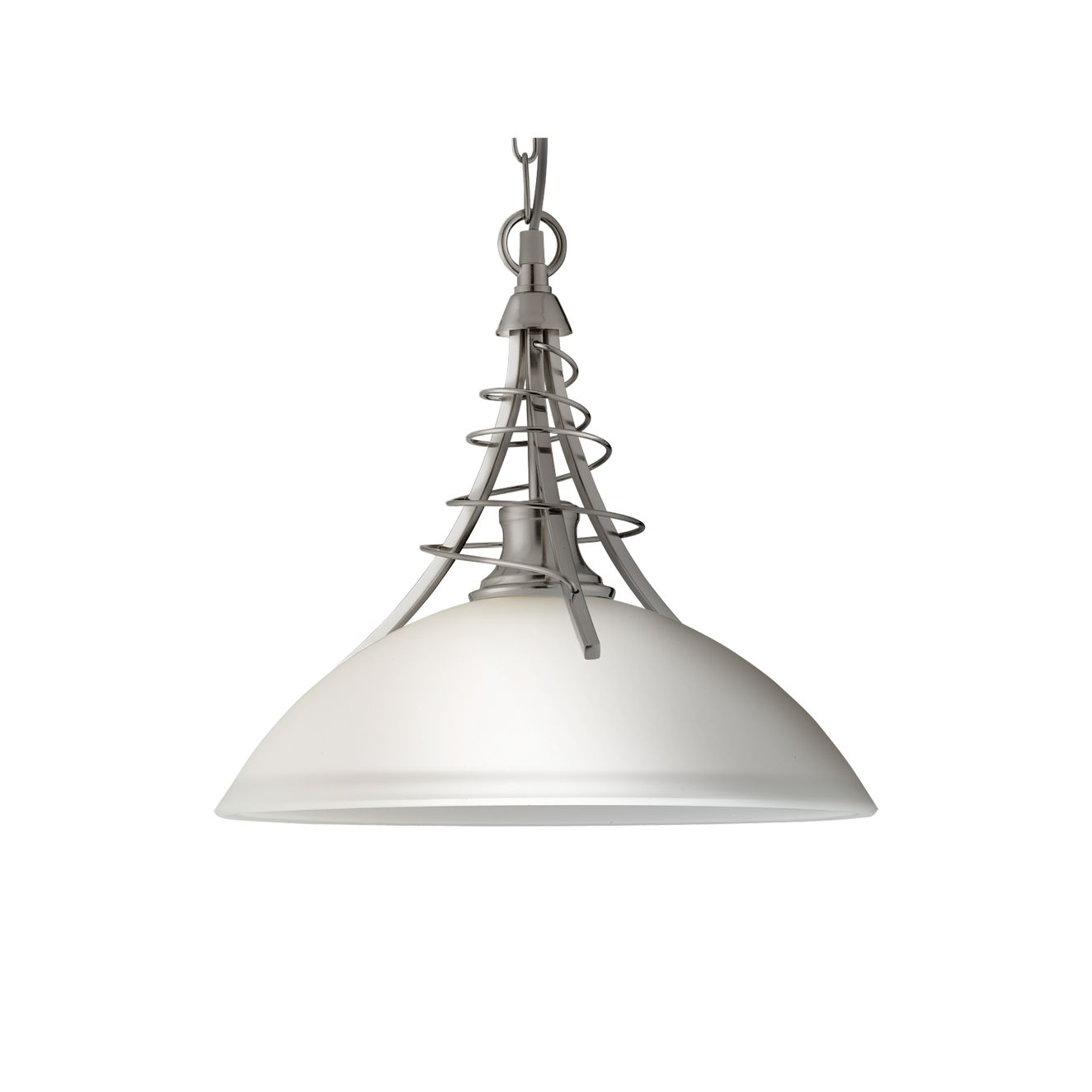 6aac7cefcfdb Linea Satin Silver Pendant Light With Twist Centre & Dome Opal Glass
