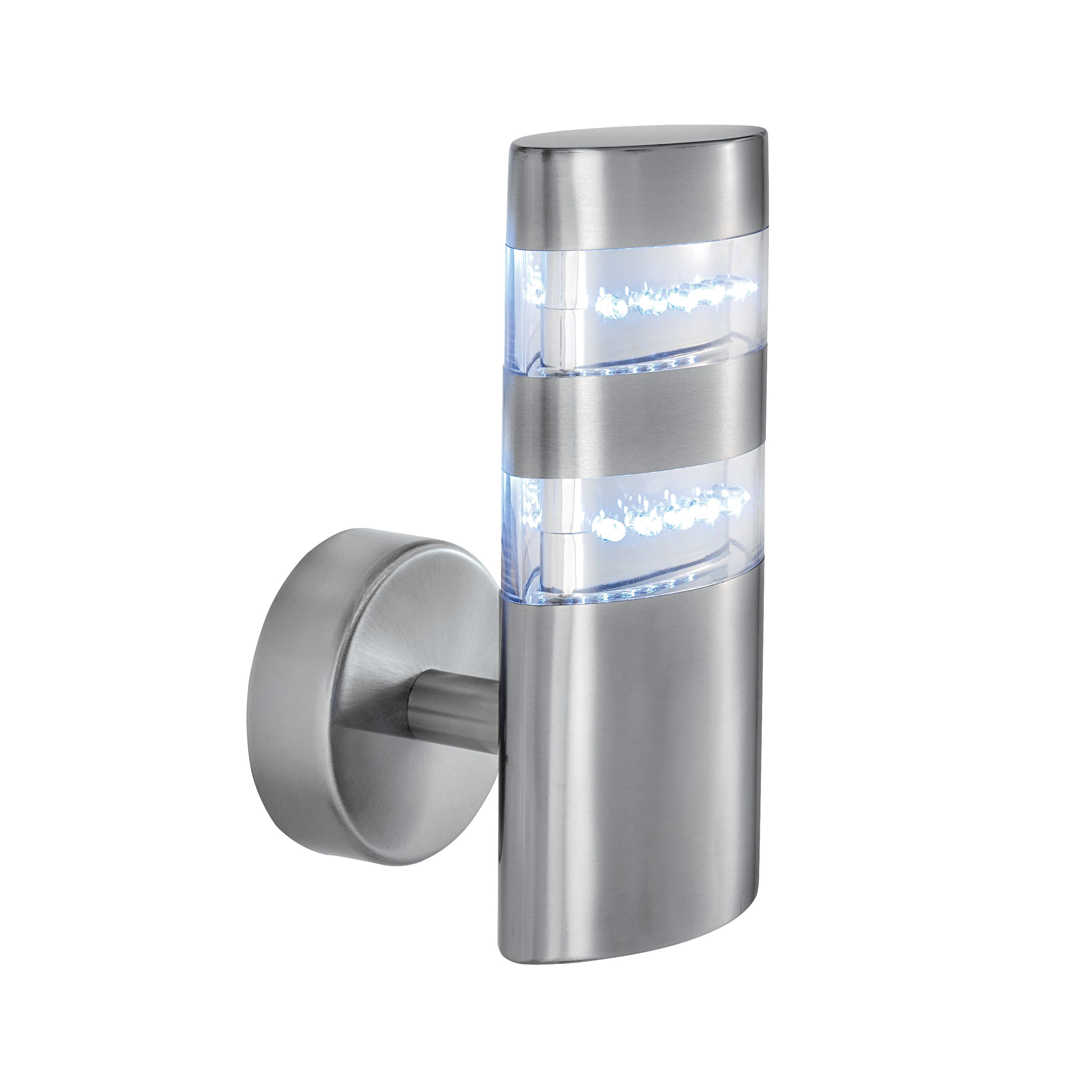 Stainless Steel Ip44 24 Led Outdoor Wall Light With Clear Polycarbonate Diffuser