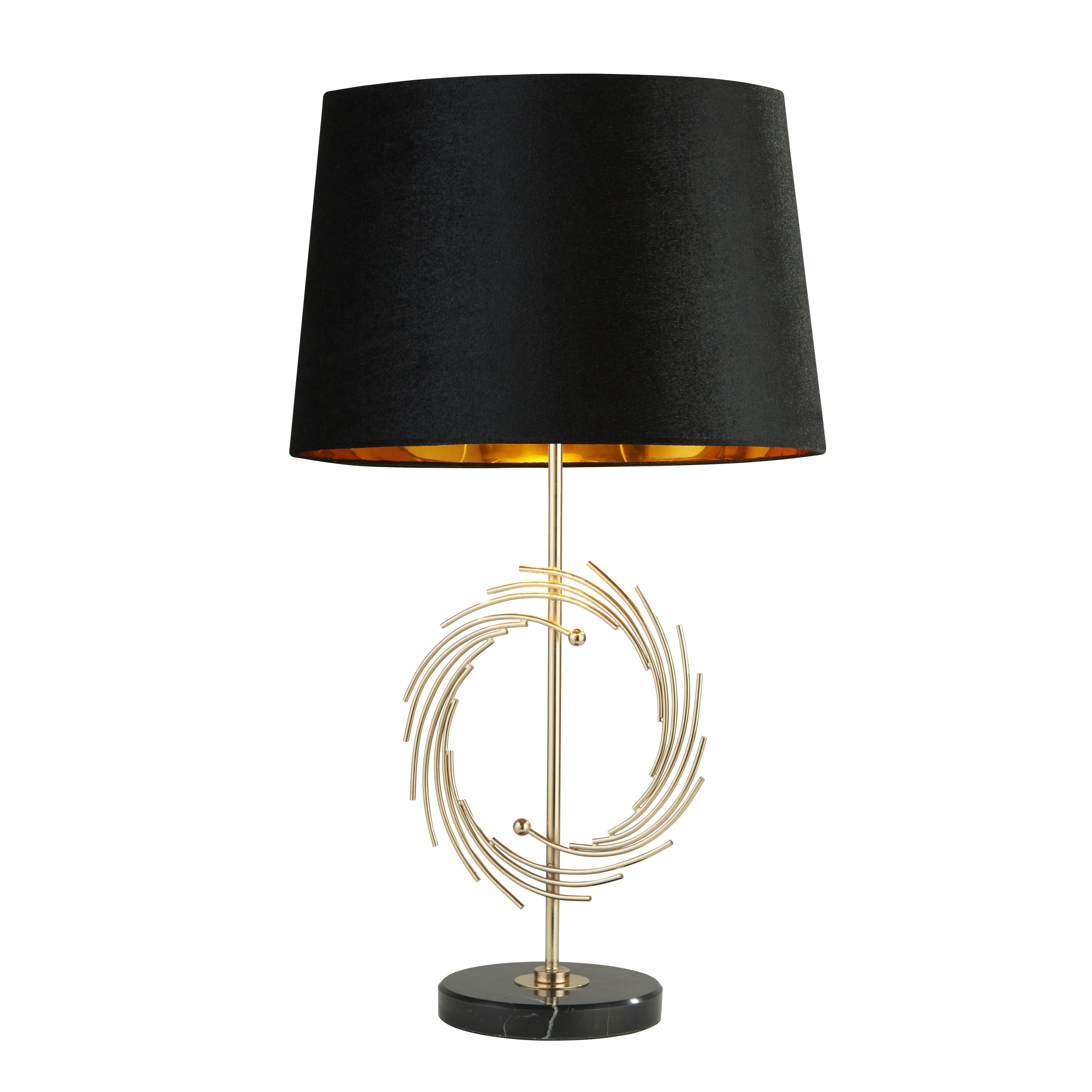 Roman Table Lamp With Marble Base Gold With Black Shade