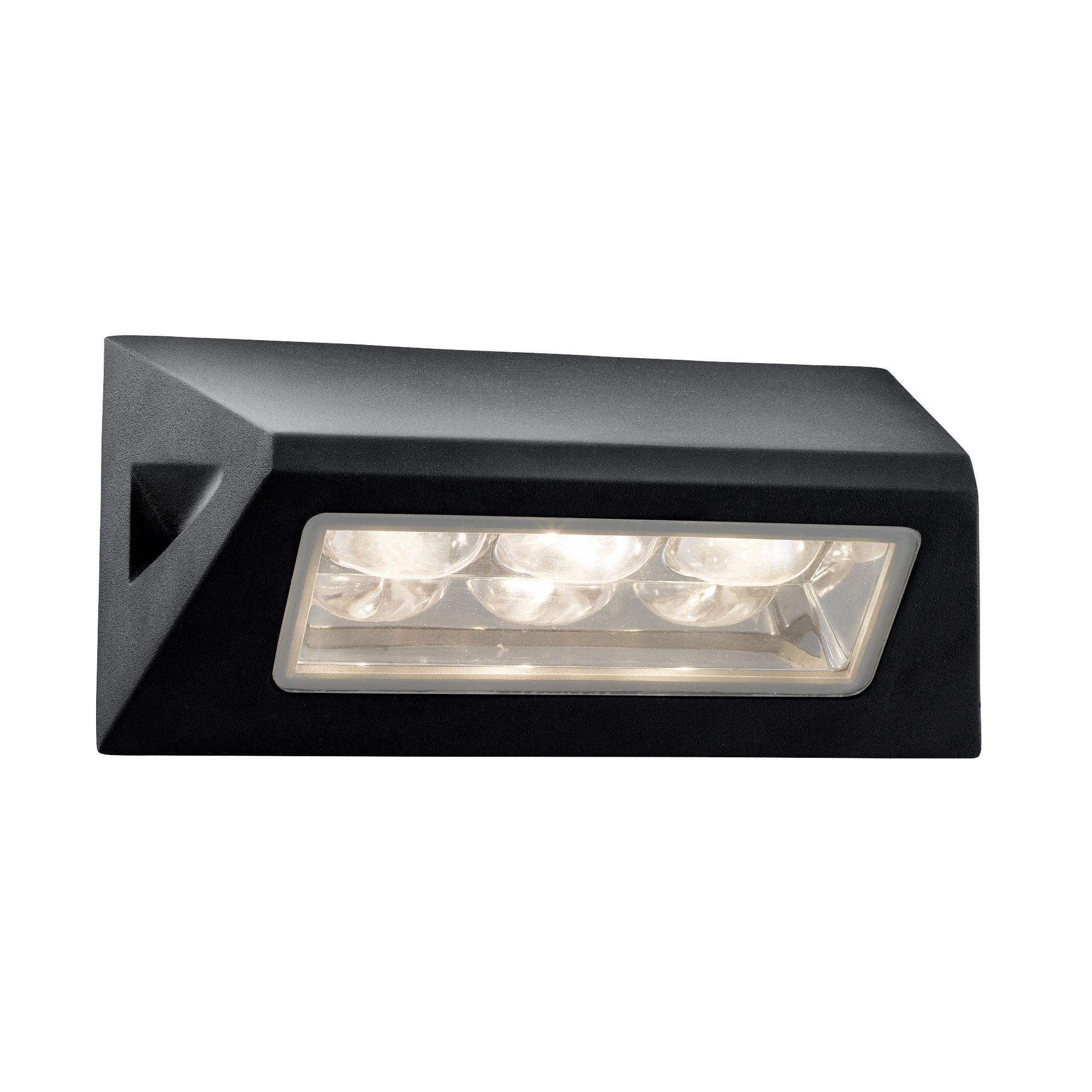 Die Cast Aluminium Black Ip44 Led Outdoor Oblong Wall Light