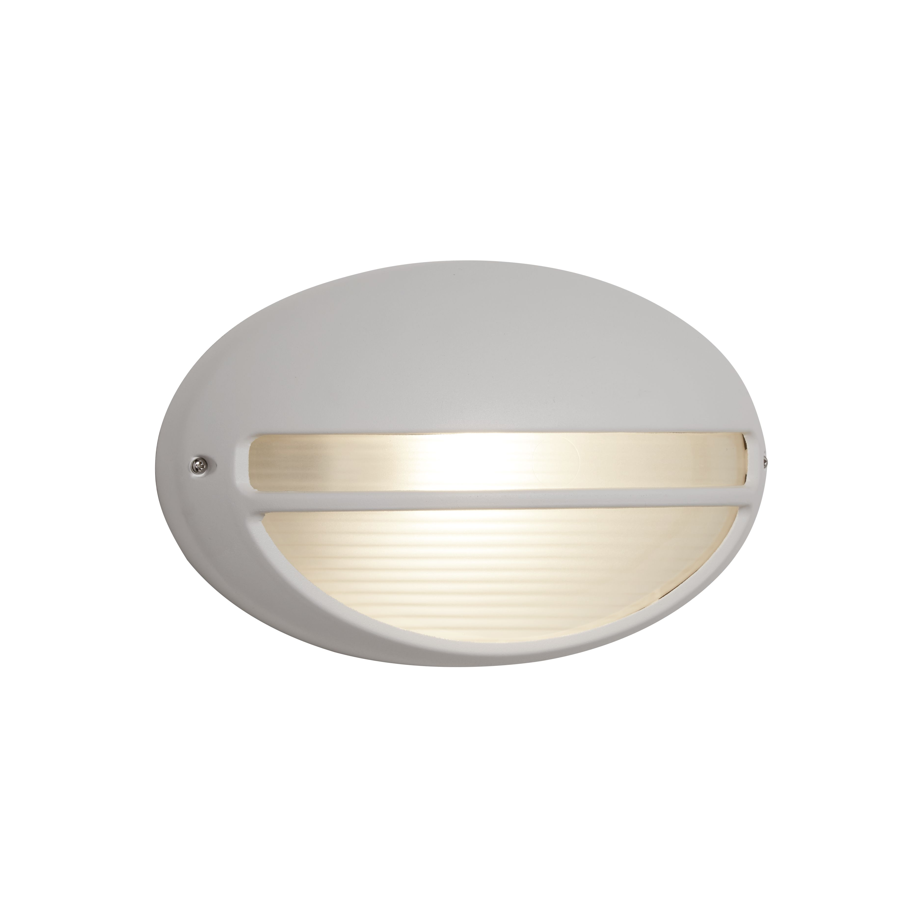 Die Cast Aluminium White Ip44 Oval Outdoor Light With Ridged Opal Glass Wb/flush
