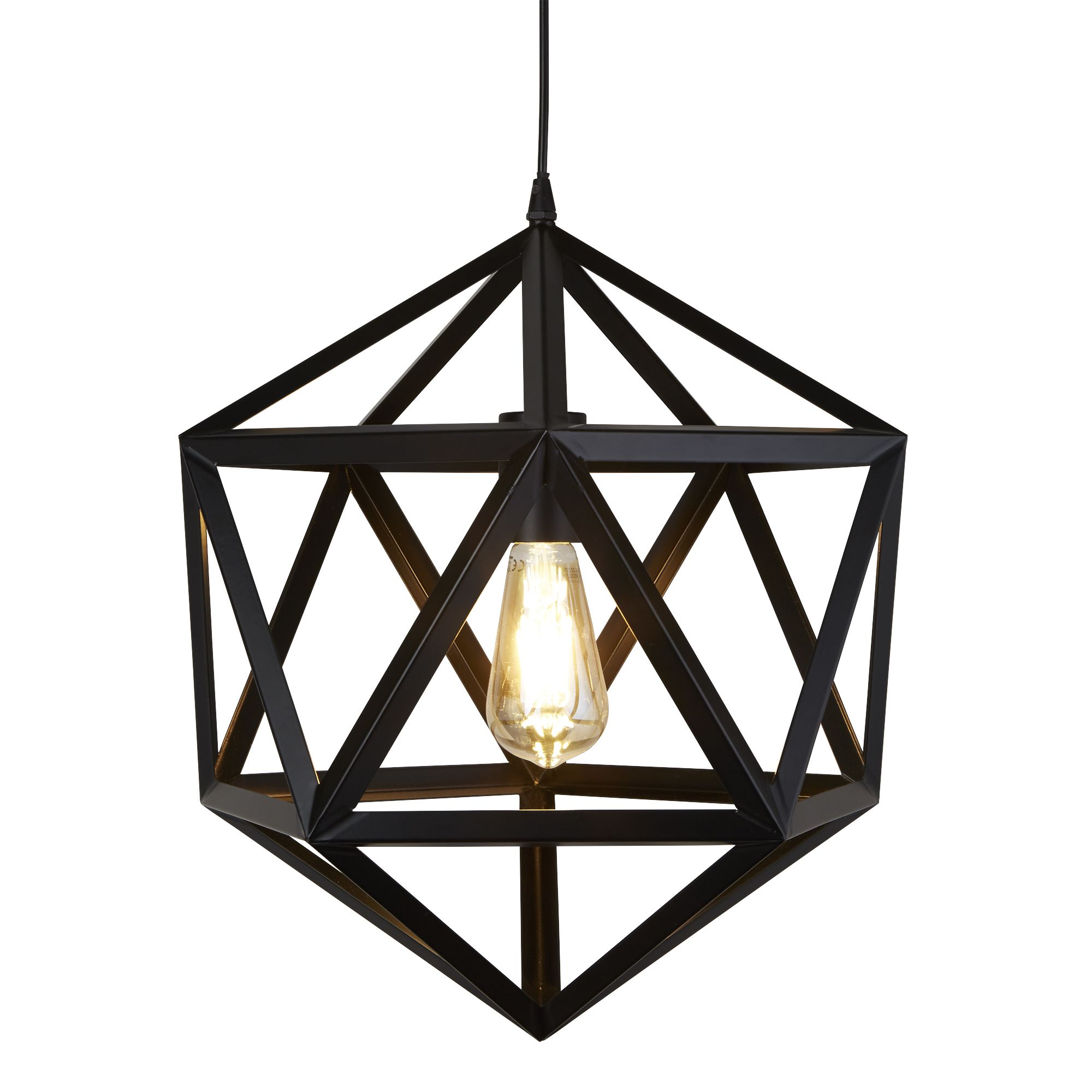 Metal 1 Light Geometric Pendant Matt Black