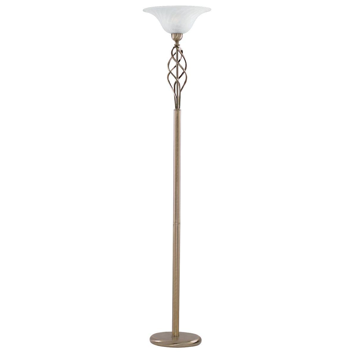 Zanzibar Antique Brass Floor Lamp With Swirl Marble Glass Diffuser
