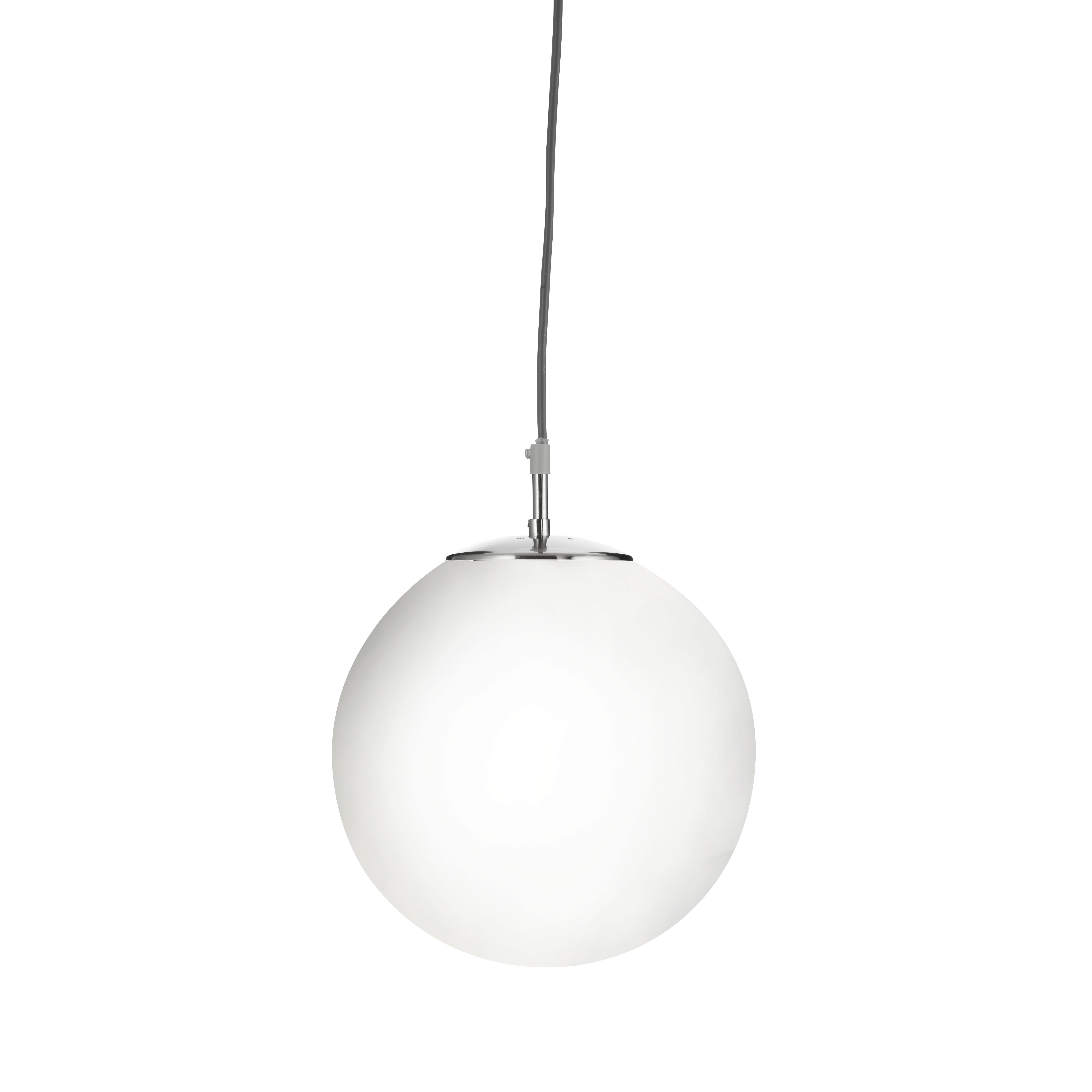 Image of: Atom Satin Silver Pendant Light Withopal Glass Sphere