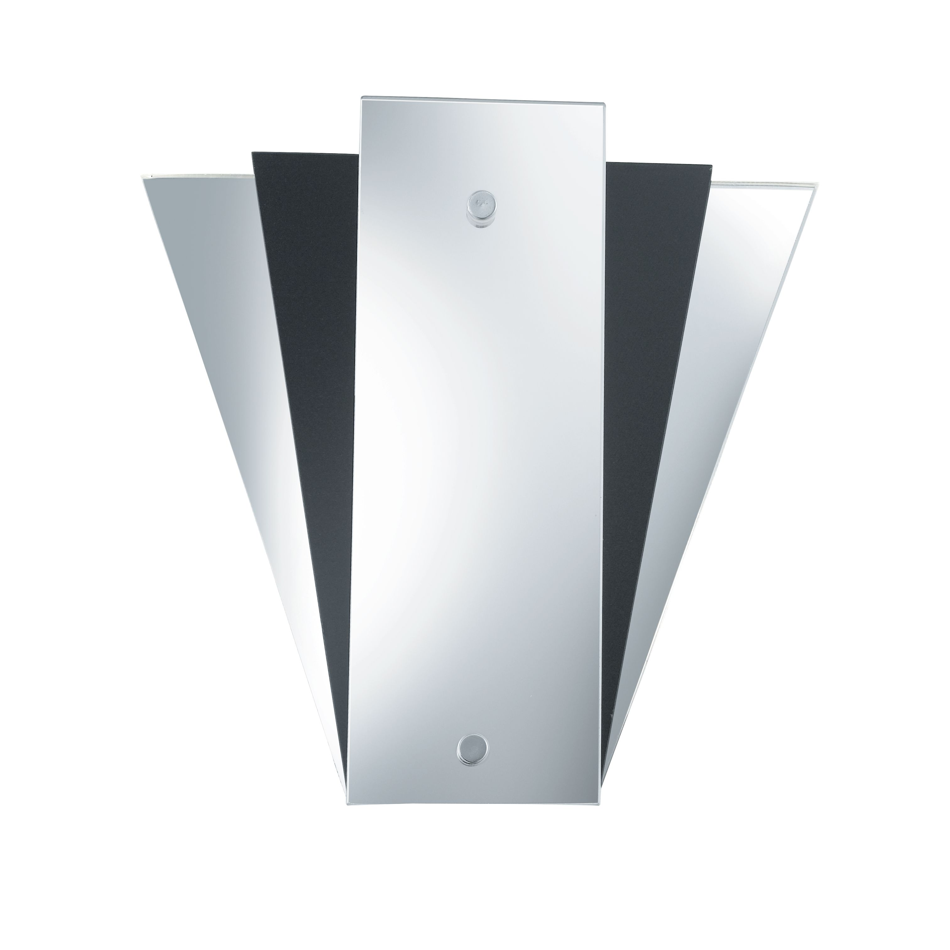Fan Style Mirror Wall Light With Mirror & Black Glass Back Panels