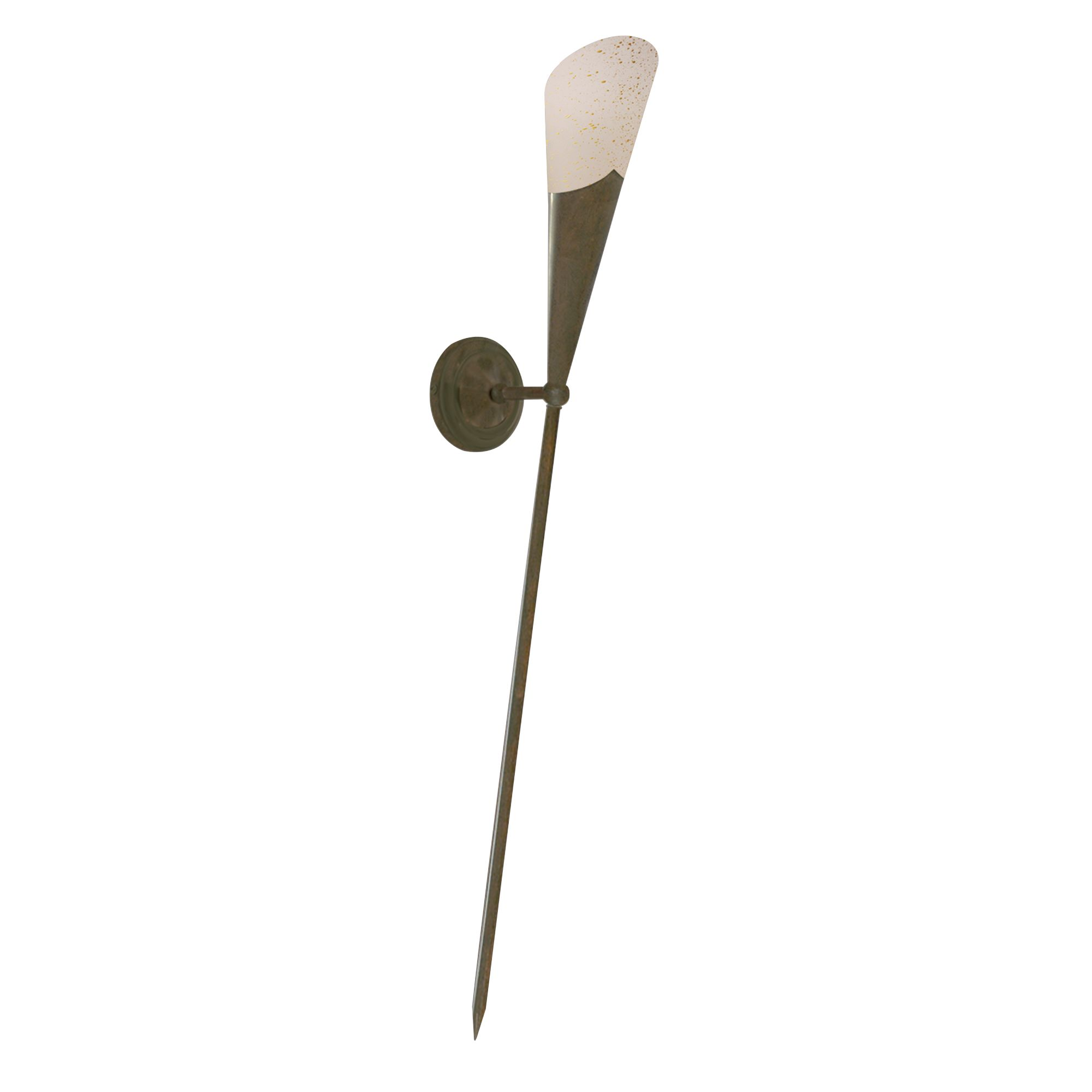 Brown Ruggine Long Tail Torch Wall Light With Cream Scavo Glass Shade