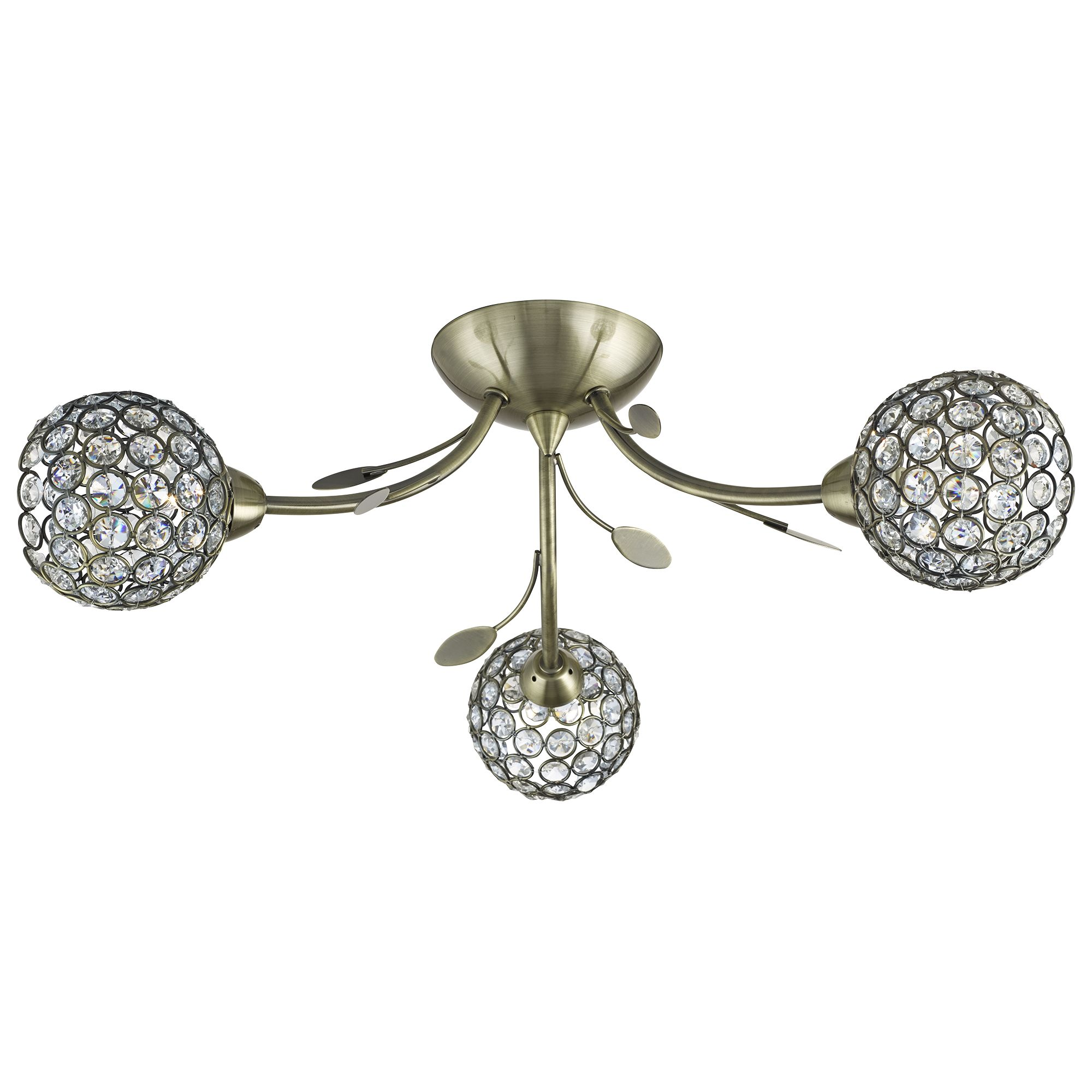 Bellis Ii Antique Brass 3 Light Fitting With Clear Glass Metal Shades