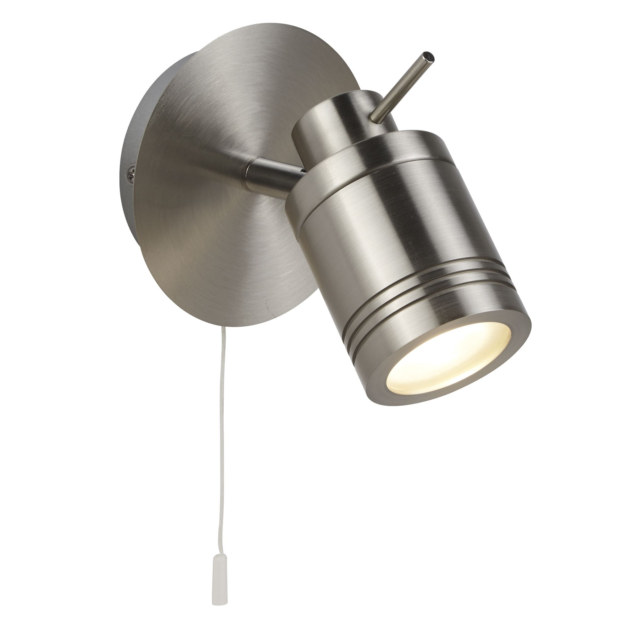 Satin Silver, Ip44 Bathroom Spot Wall Bracket, Switched, Adjustable Head