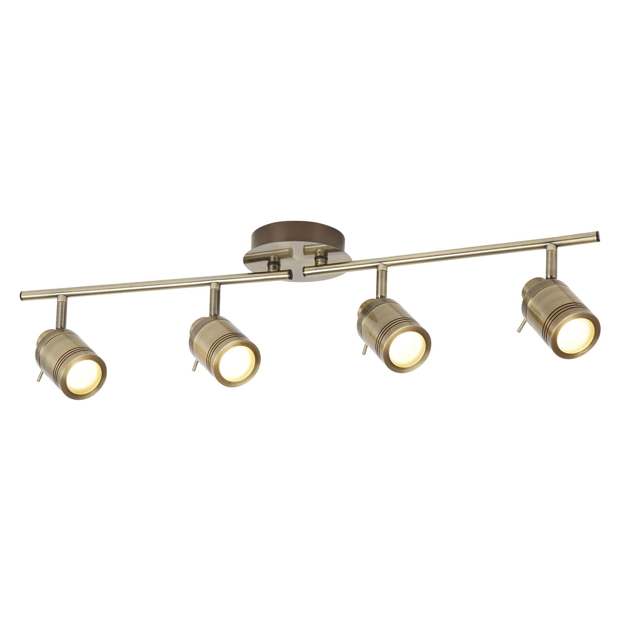 Antique Brass, 4 Light Ip44 Bathroom Spot Split-bar, Adjustable Heads