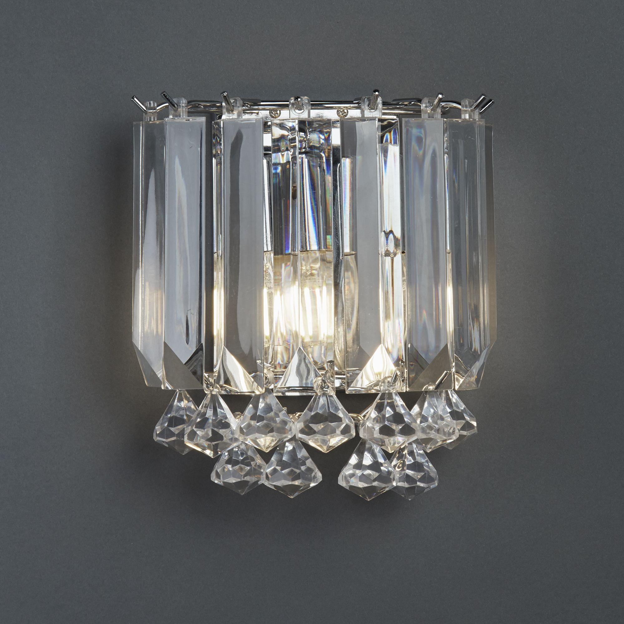 Sigma Chrome 2 Light Wall Bracket With Clear Acrylic Crystal Prisms Balls