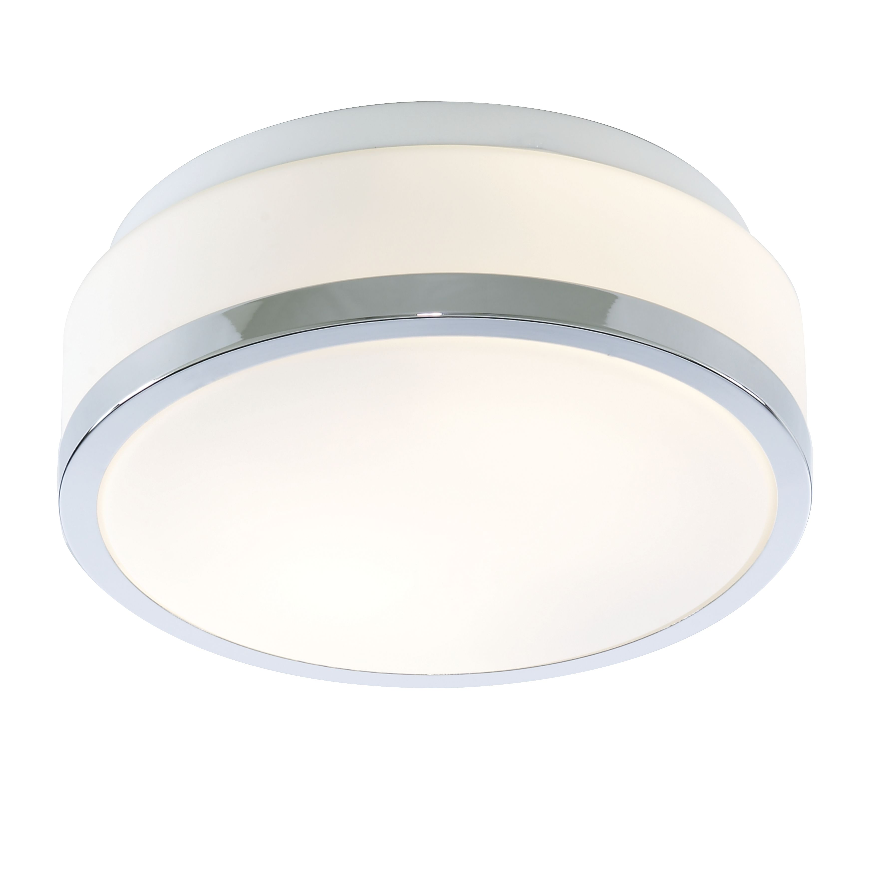 Ip44 2 Light Flush Fitting With Opal Glass Shade & Chrome Trim