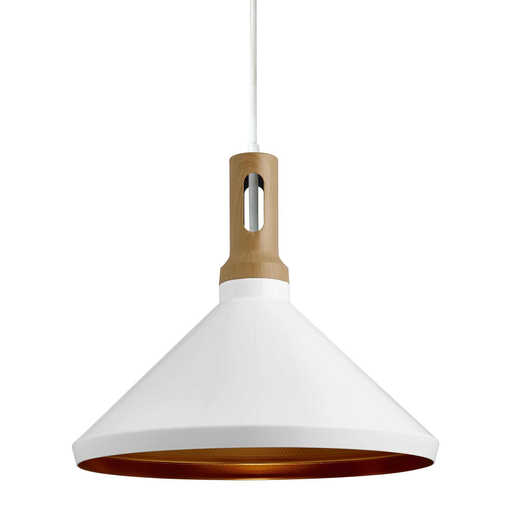 Cone White Metal Pendant Light With Gold Inner Wood D Cor