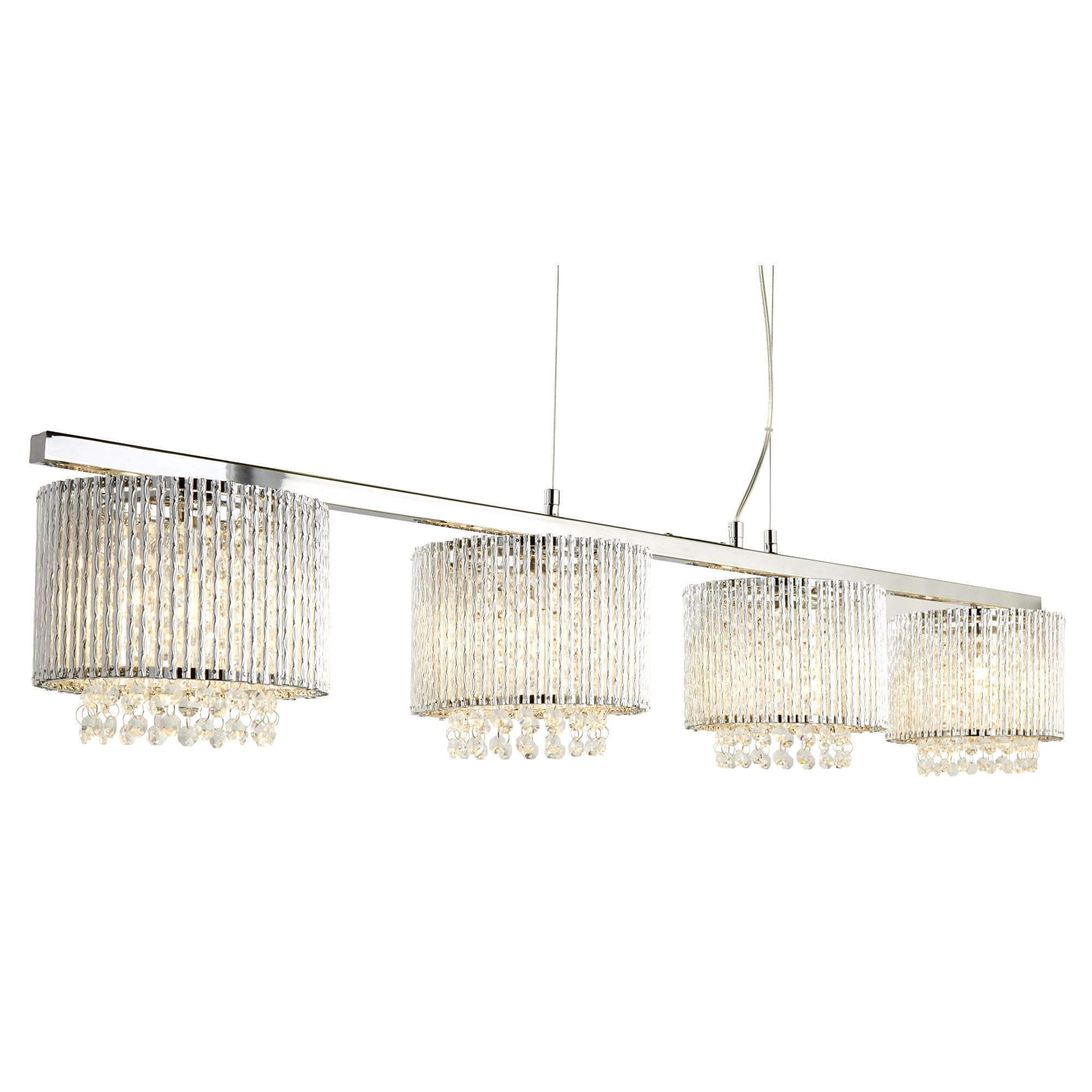 Chrome 4 Light Pendant Ceiling Bar, Clear Crystal Drops, Aluminimum Twisted Tube