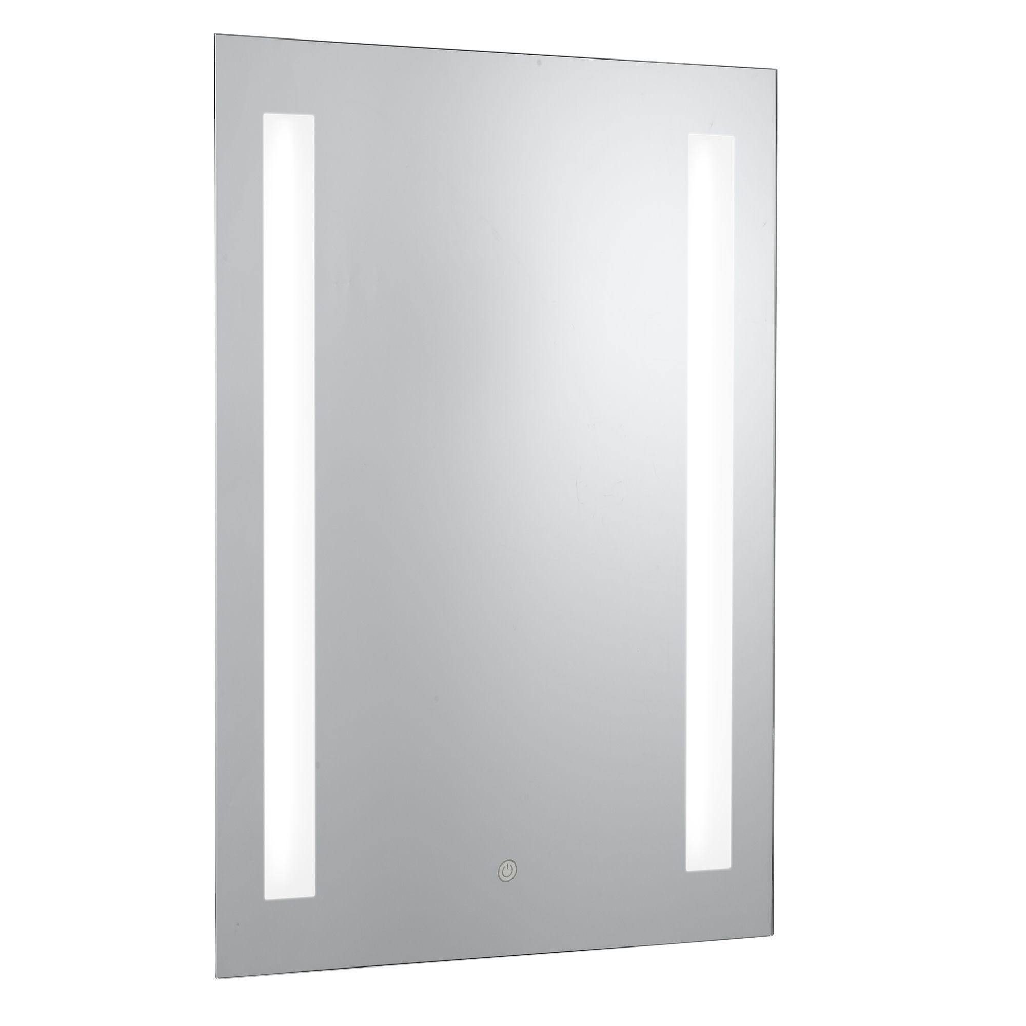 Ip44 2 Light Oblong Bathroom Mirror, Shaver Socket, Blue Switched