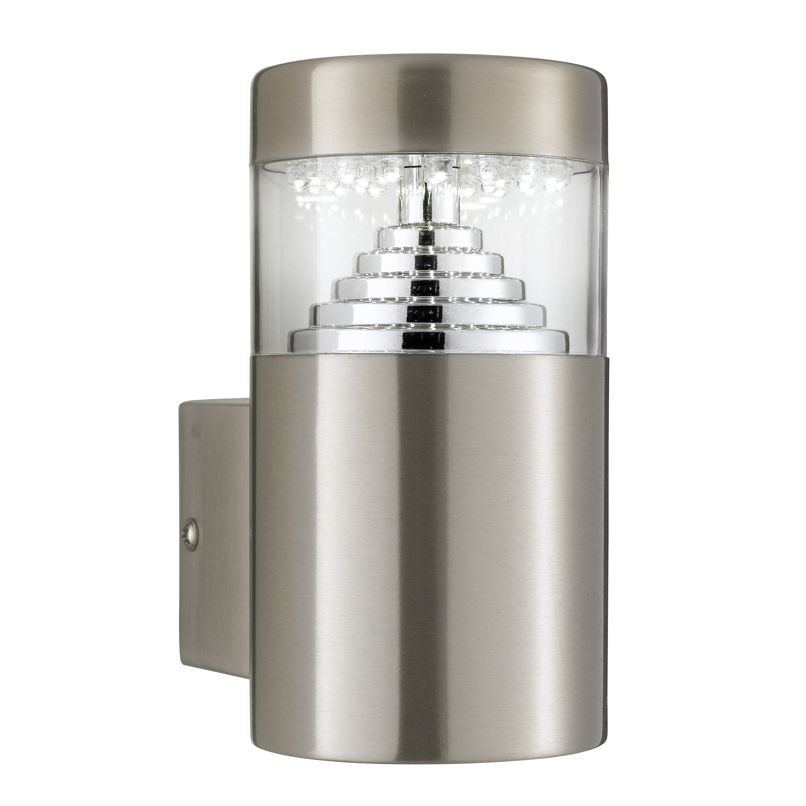 Stainless Steel Ip44 30 Led Outdoor Wall Light With Clear Polycarbonate Diffuser