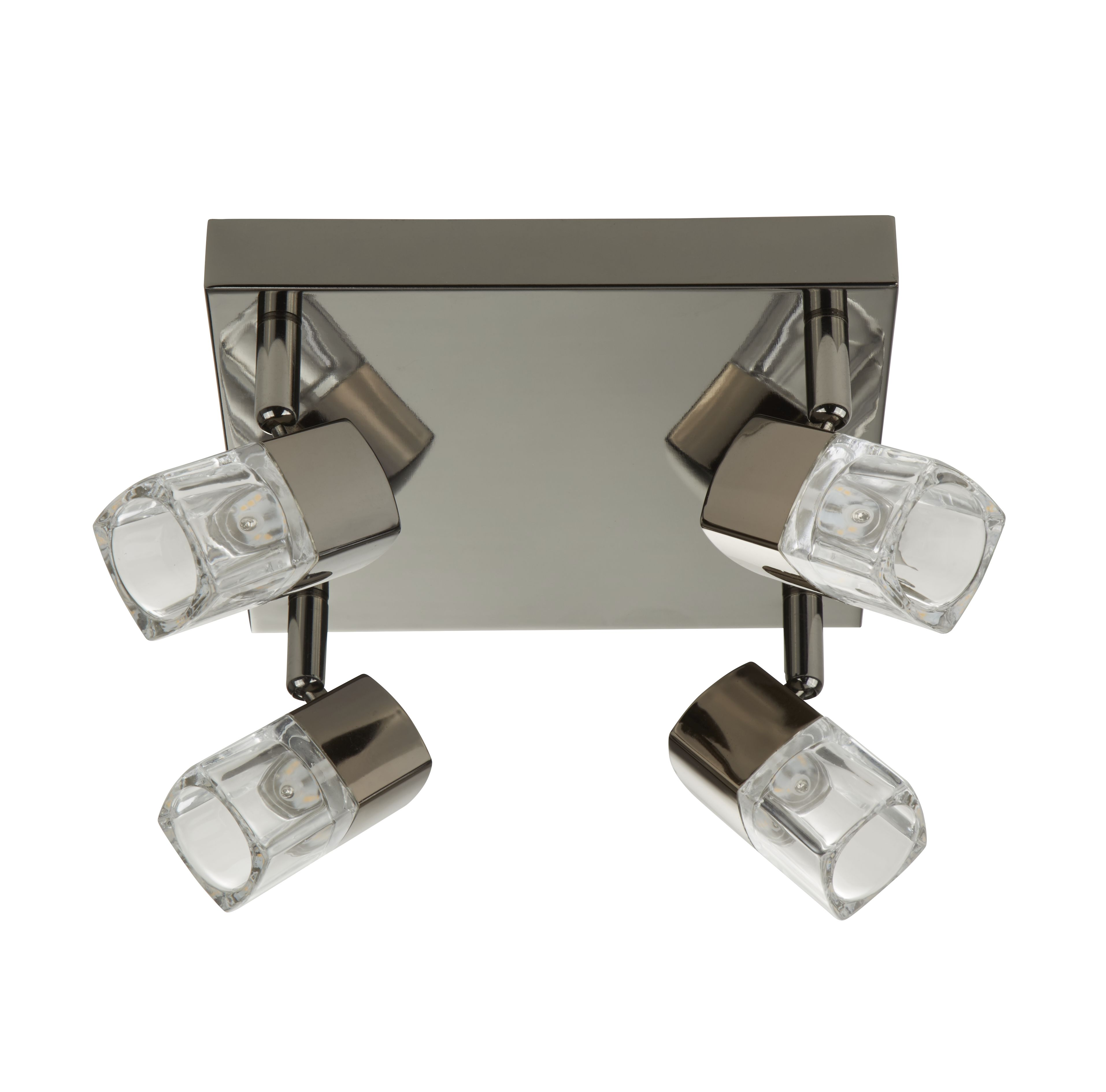Led Blocs - 4 Light Spotlight Square, Black Chrome, Clear Glass (ice Cube)