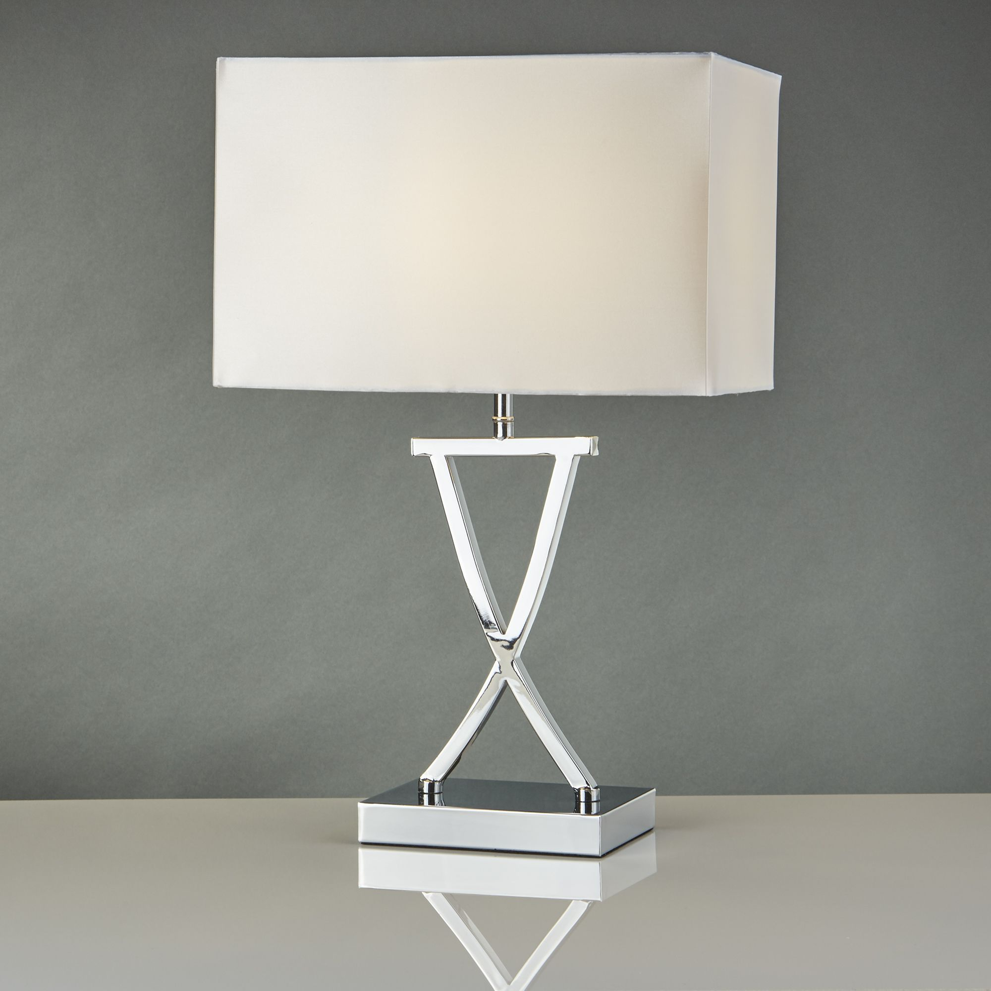 Magnificent Cross Chrome Table Lamp With Drum Shade Download Free Architecture Designs Grimeyleaguecom