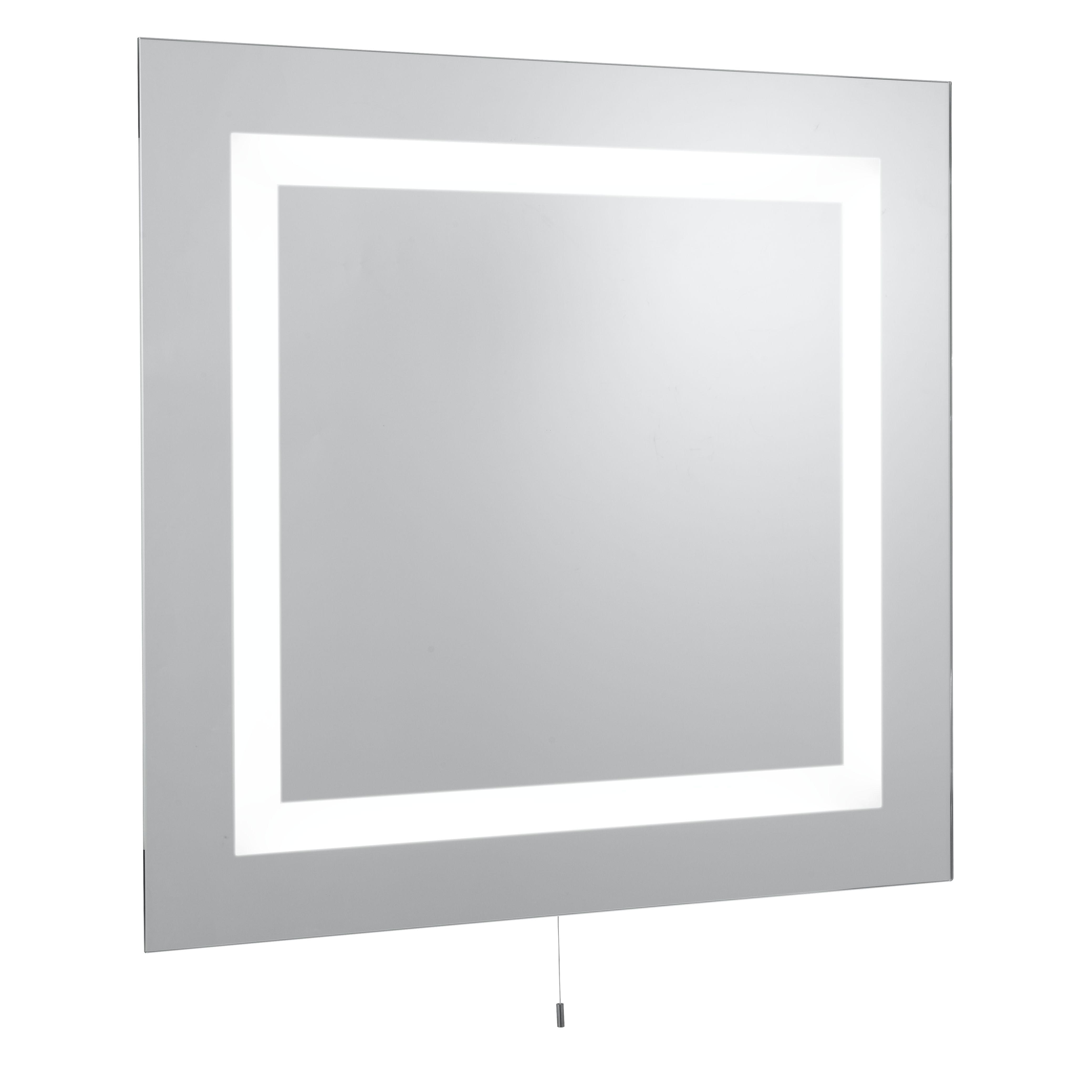 Square Bathroom 4 Light Ip44 Illuminated Mirror, Switched