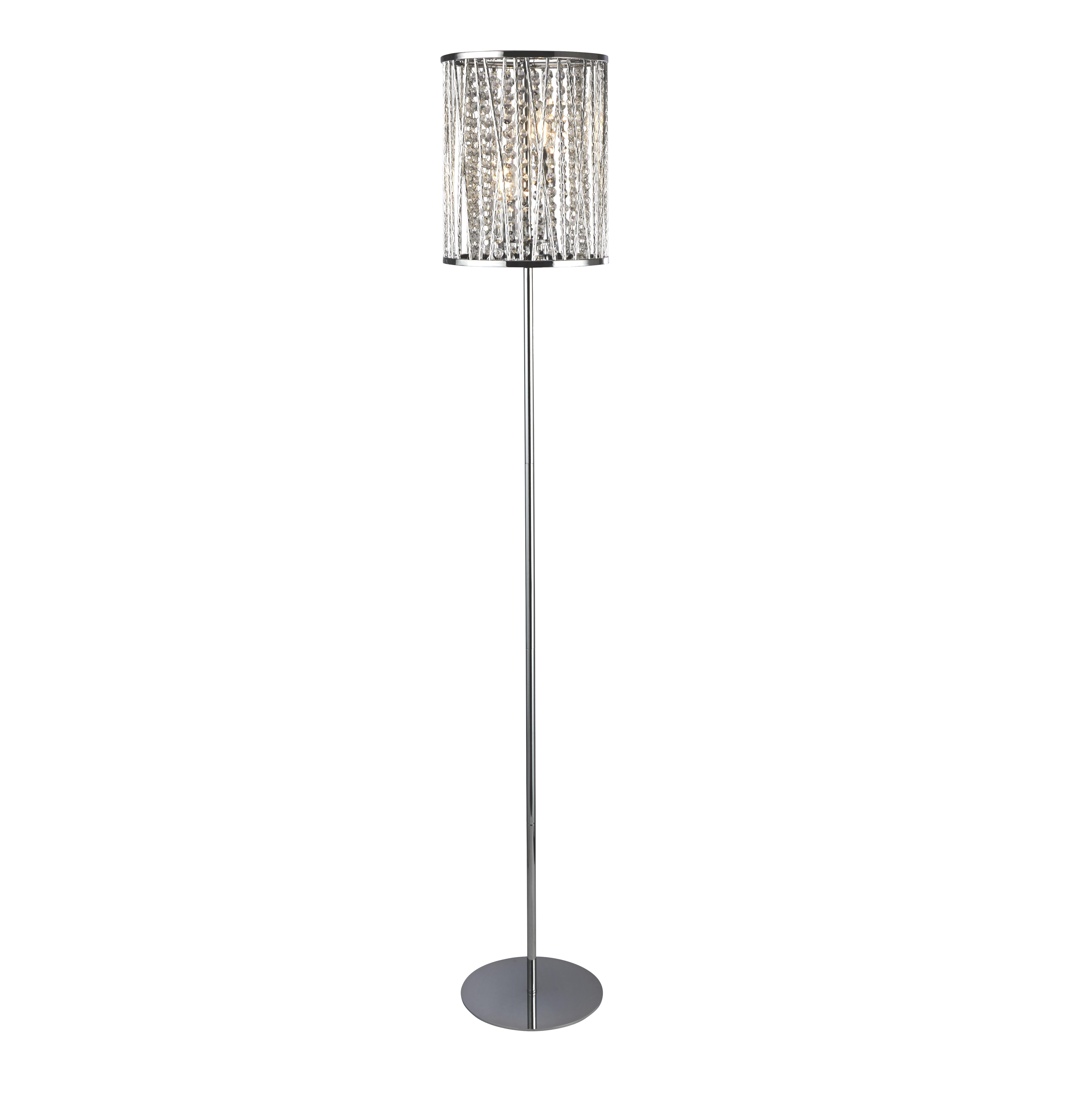Elise 2lt Floor Lamp, Chrome, Crystal Drops