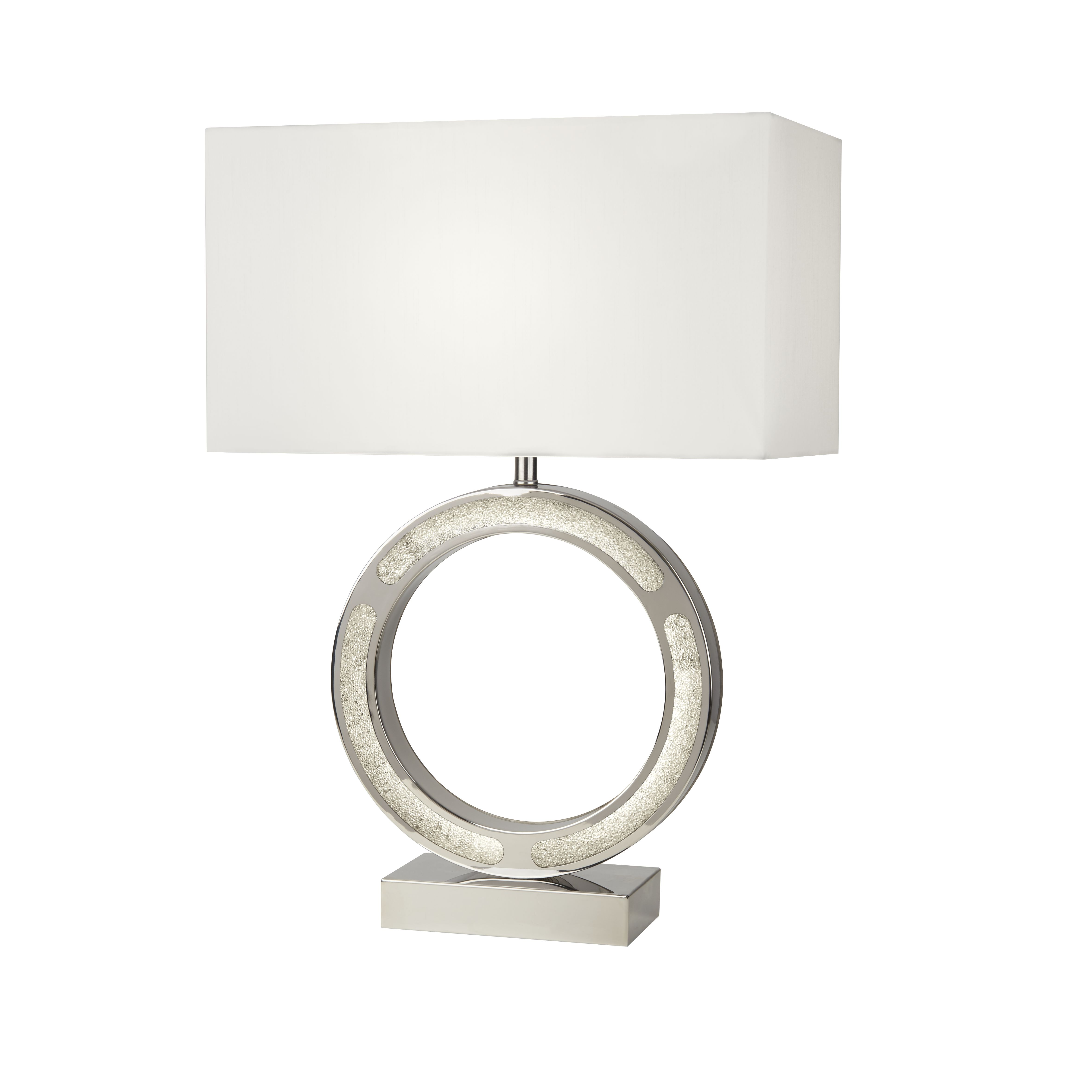 Table Lamp With White Oblong Faux Silk