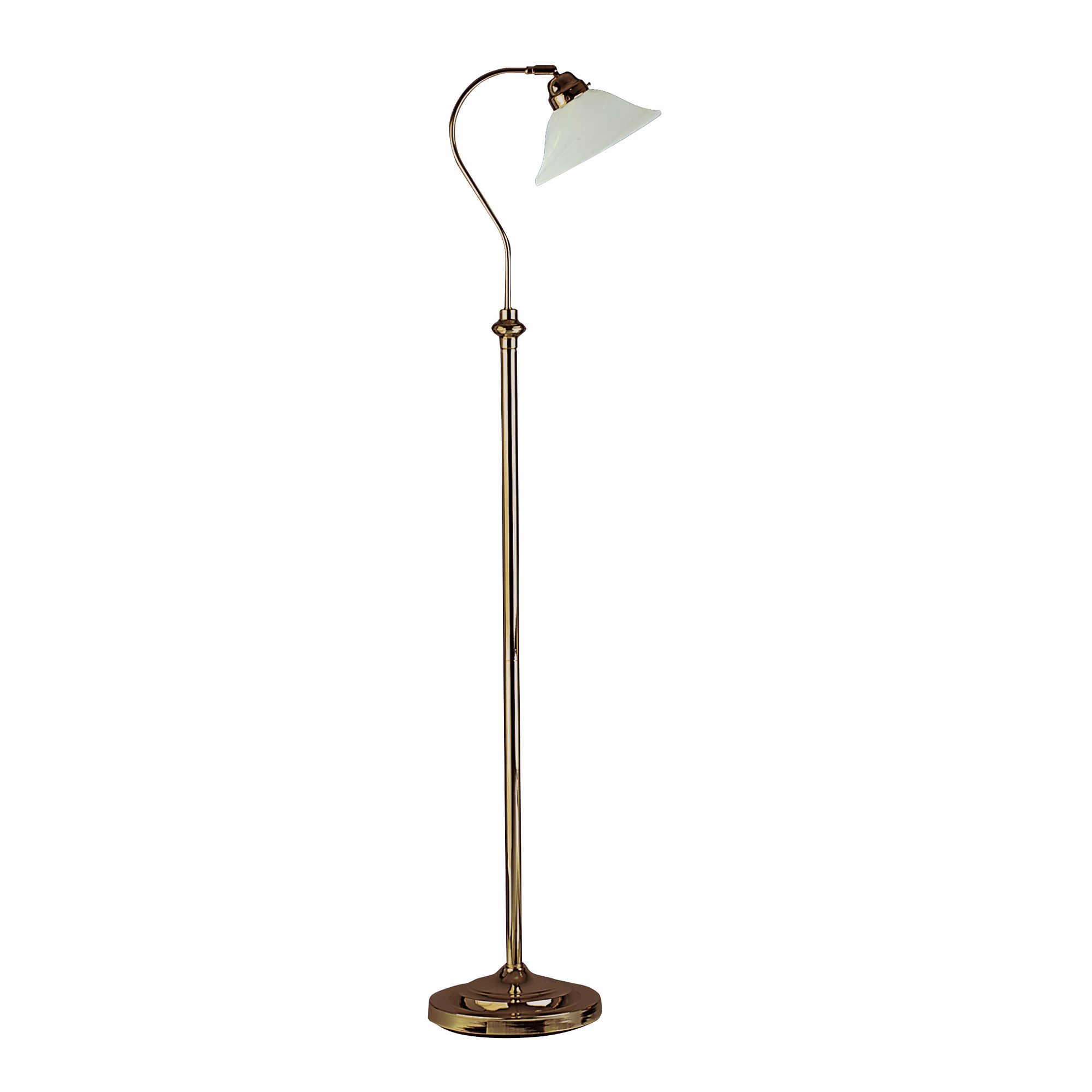 Antique Brass Adjustable Floor Lamp With Marble Glass Shade