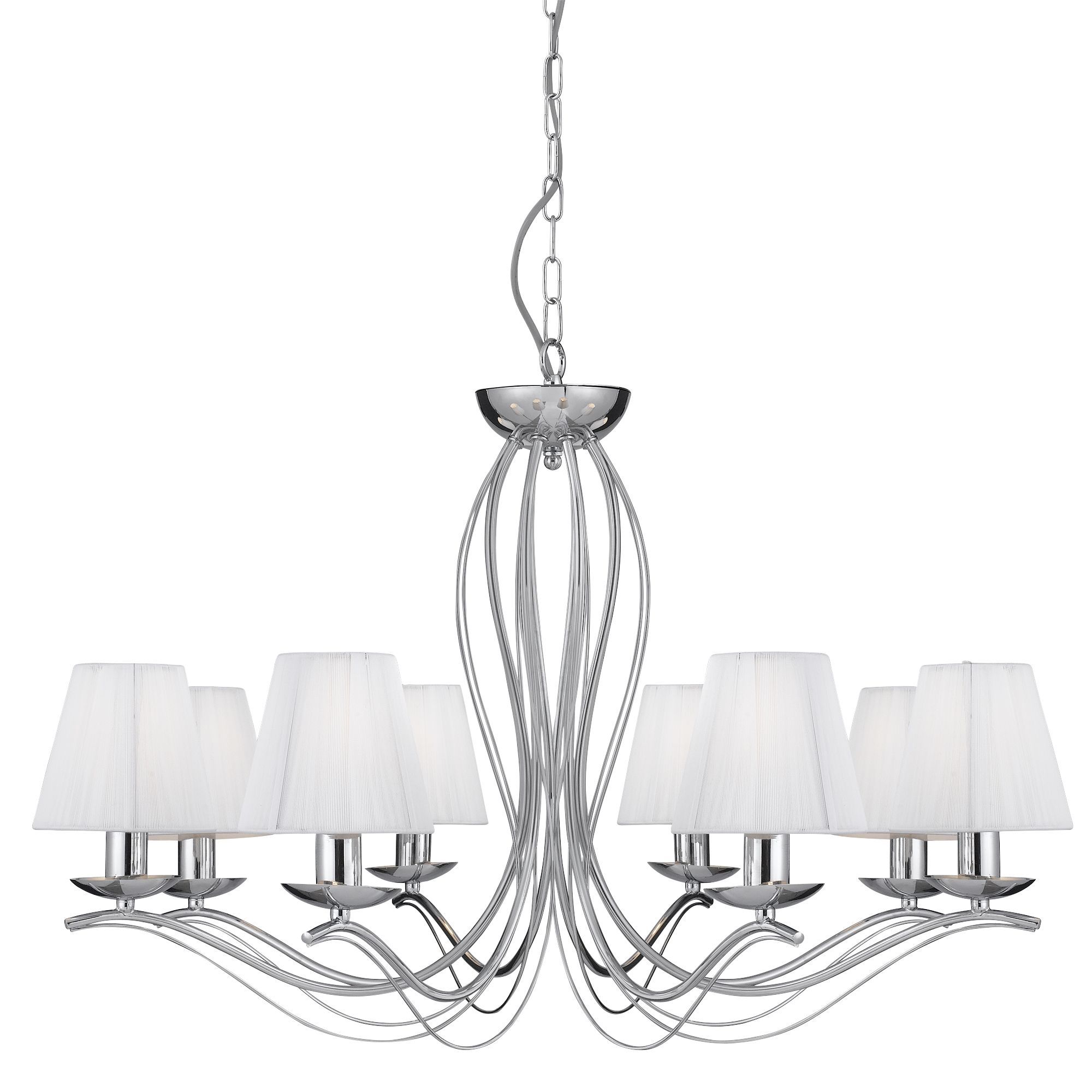 Chrome Metal Chandelier with White String Shade